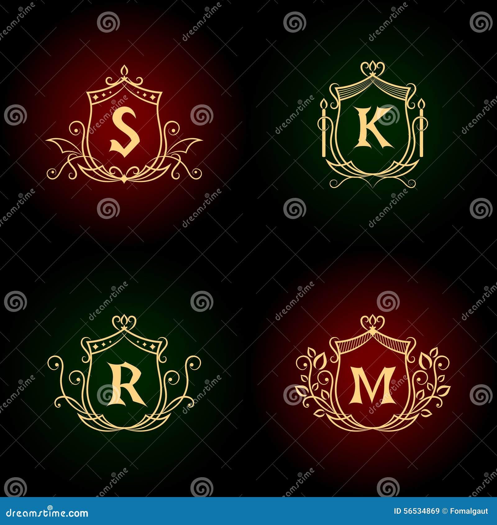 Elementi di progettazione del monogramma, modello grazioso Linea elegante calligrafica progettazione di logo di arte