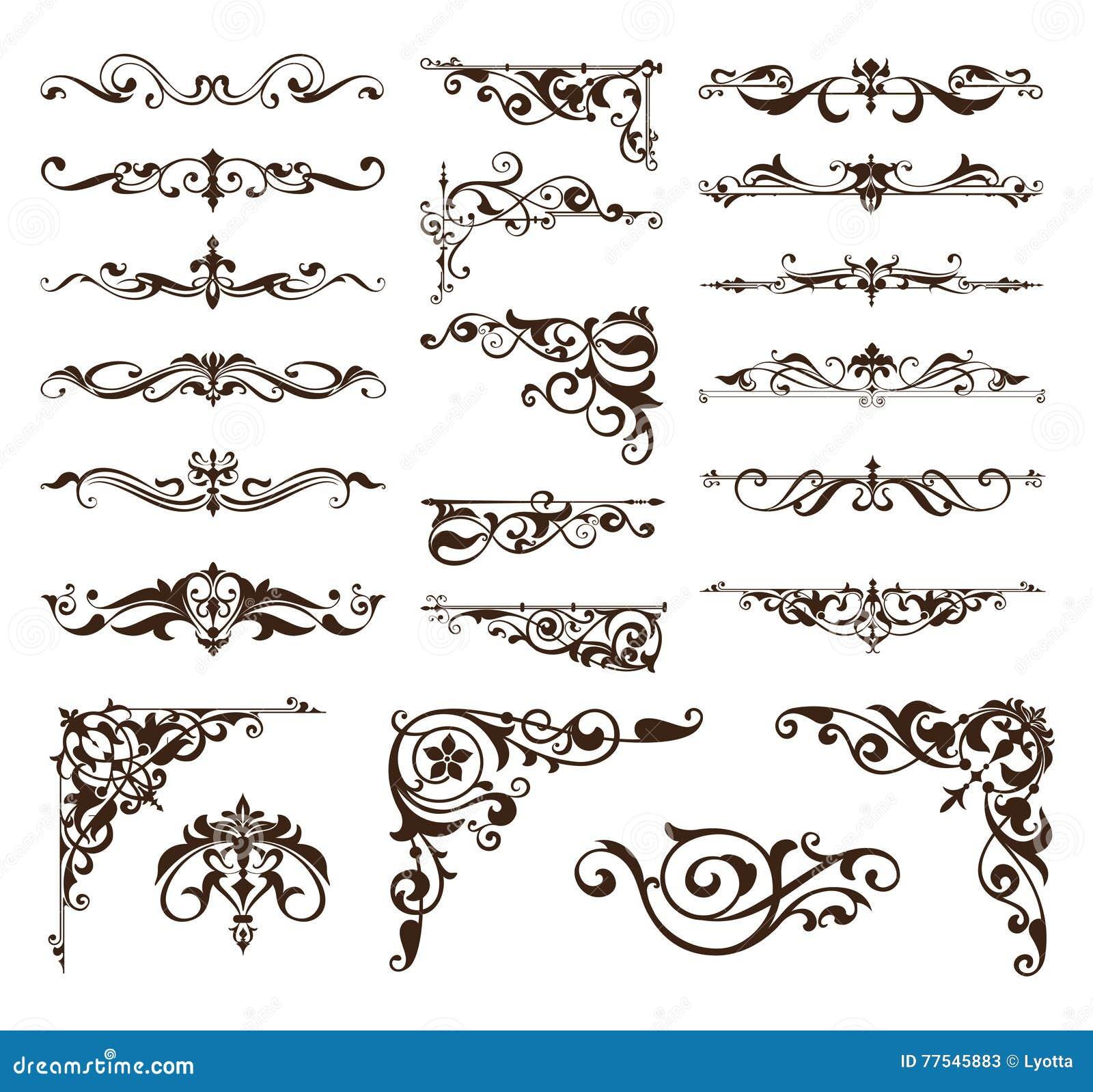 Elementi di progettazione di art deco degli angoli d annata dei confini e degli ornamenti del telaio
