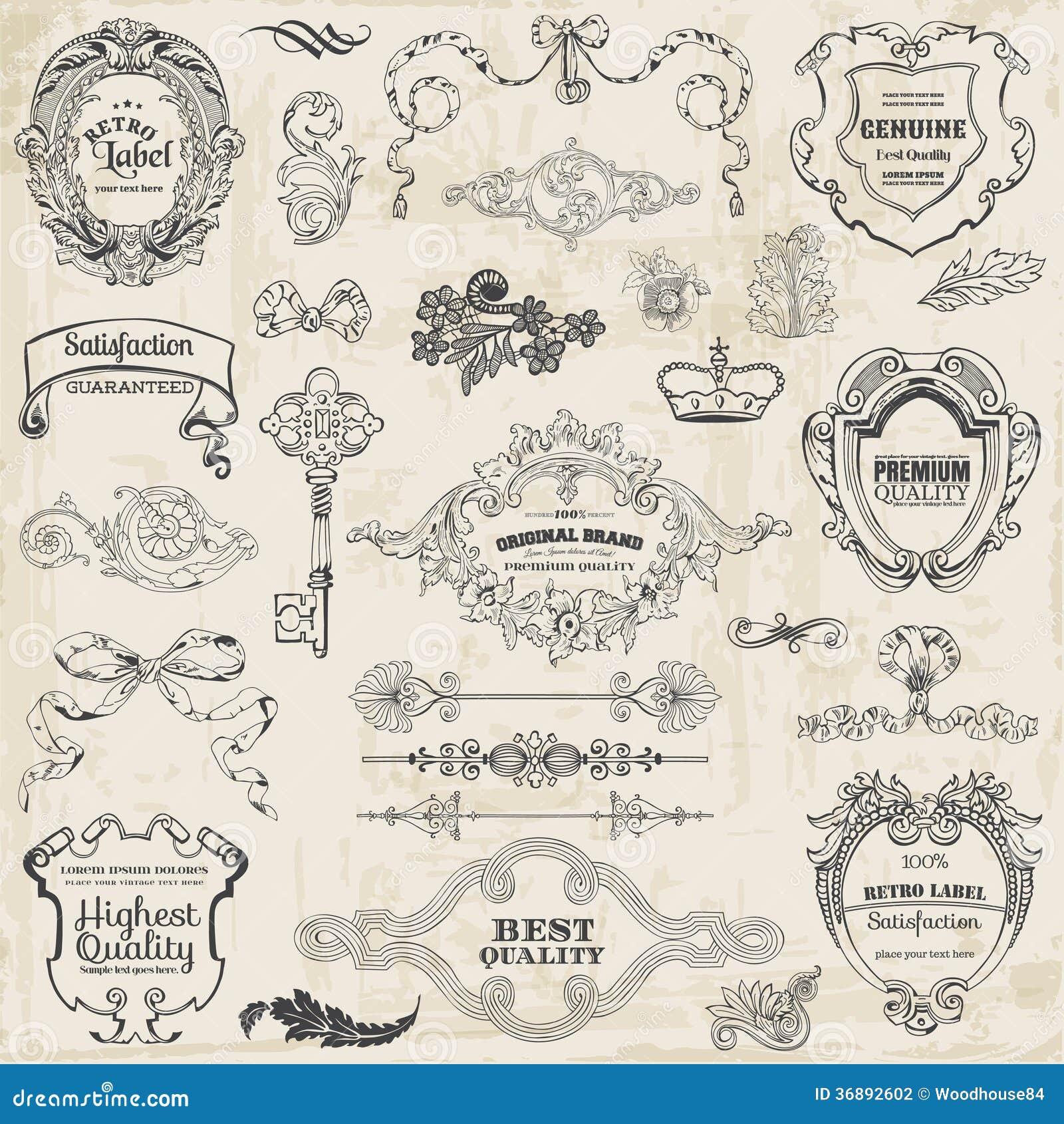 Download Elementi Di Progettazione E Decorazione Calligrafici Della Pagina Illustrazione Vettoriale - Illustrazione di illustrazione, etichetta: 36892602