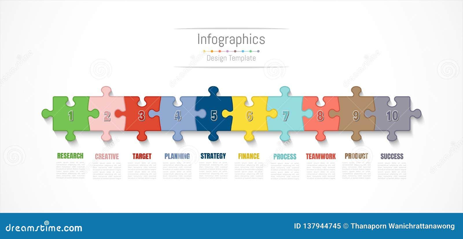 Elementi di progettazione di Infographic per i vostri dati di gestione con 10 opzioni, parti, punti, cronologie o processi Vettor