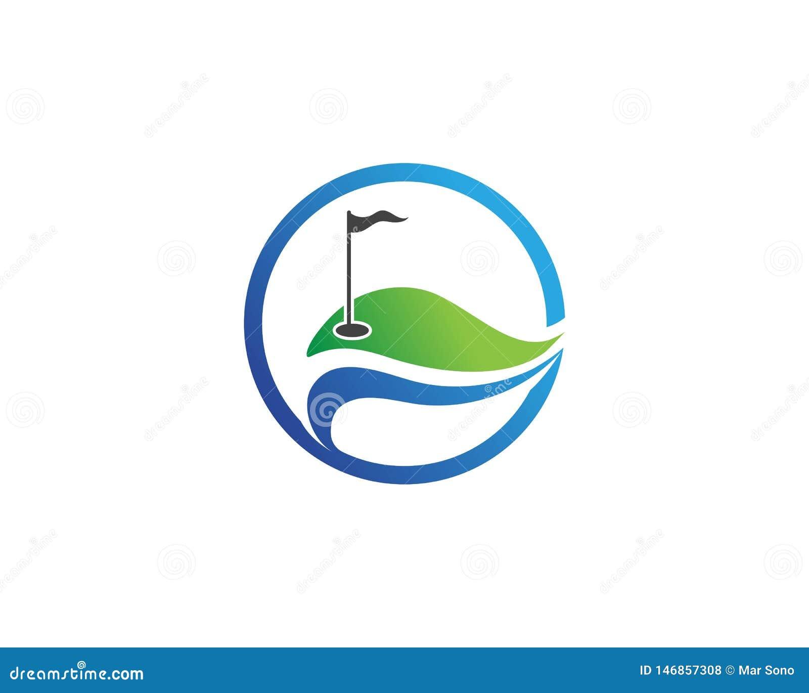 Elementi di simboli delle icone del club di golf ed immagini di vettore di logo