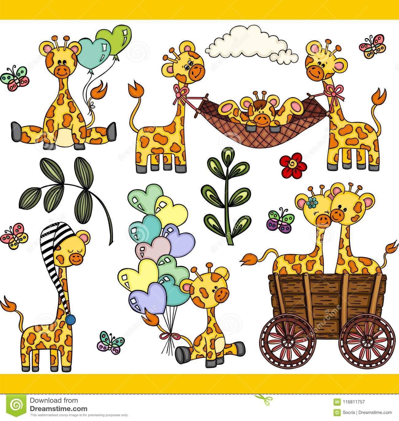 Elementi digitali stabiliti della giraffa sveglia