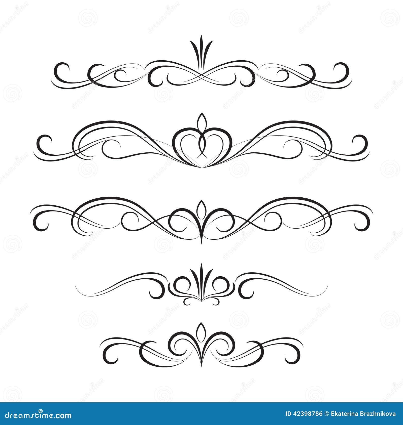 Elementi ed ornamenti ricci decorativi neri illustrazione for Greche decorative