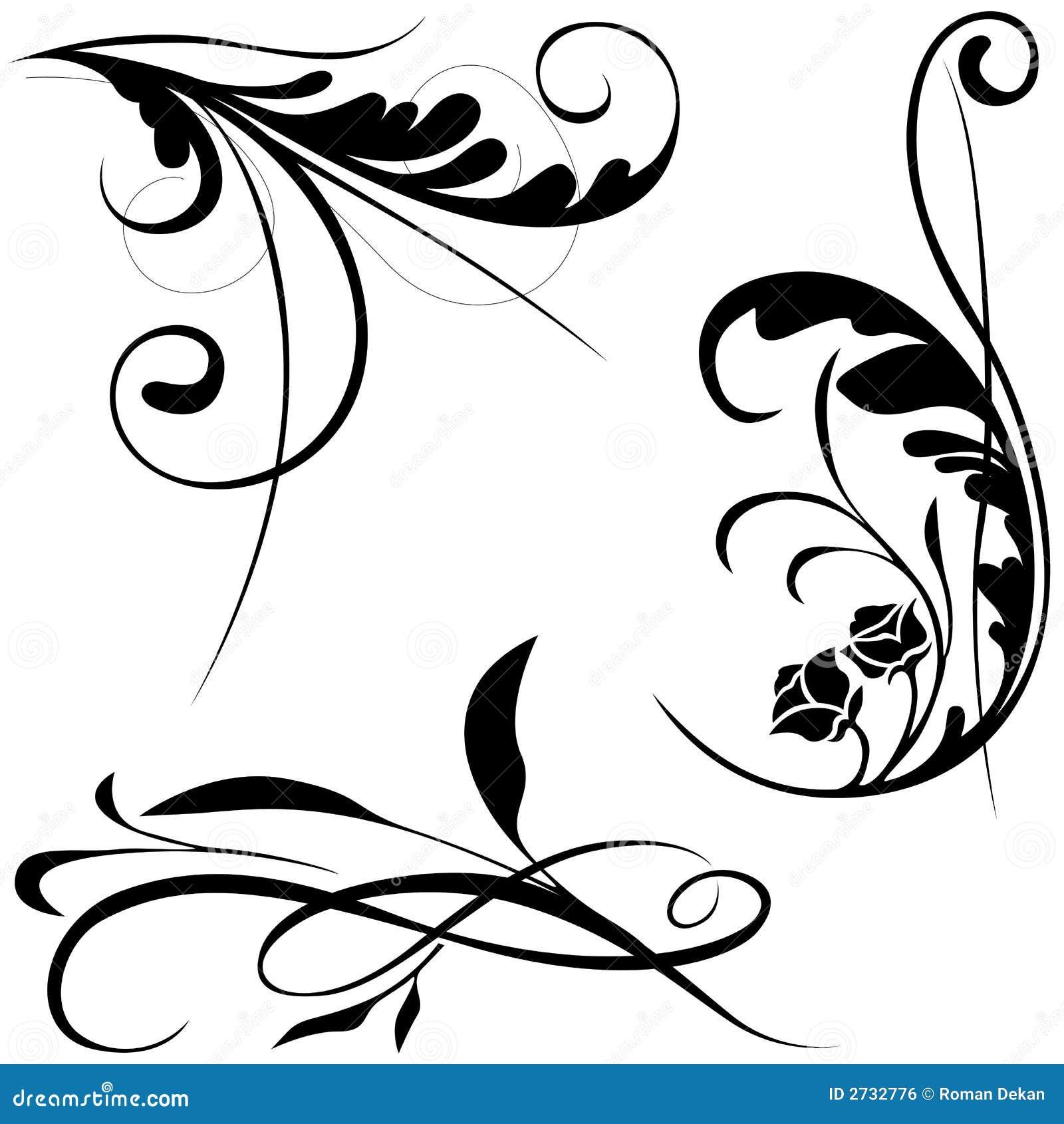 Elementi Floreali B Illustrazione Vettoriale Illustrazione Di