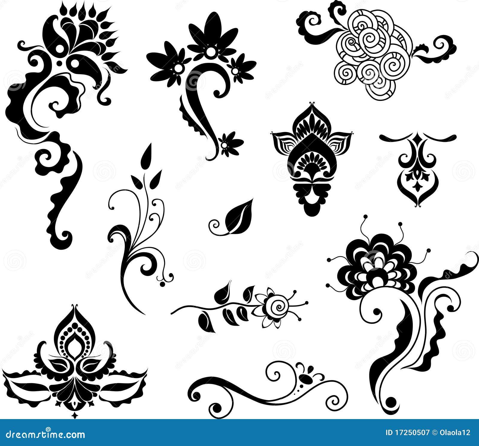 Elementi floreali decorativi per il disegno fotografia for Disegni facili da disegnare a mano libera