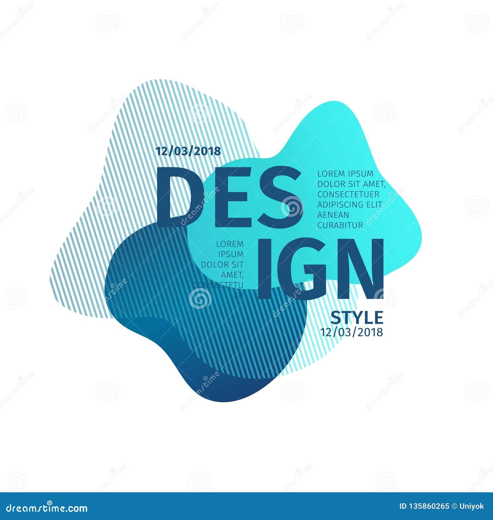 Elementi grafici moderni astratti Forma e linea blu dinamiche di colore Insegna dell estratto di pendenza con il liqui di plastic