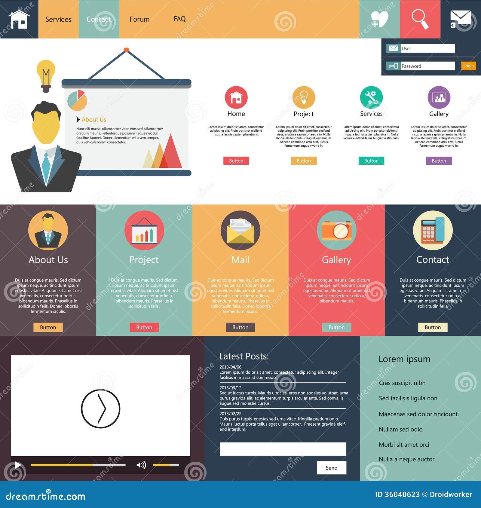 Elementi piani di web design bottoni icone modello del for Sito di design