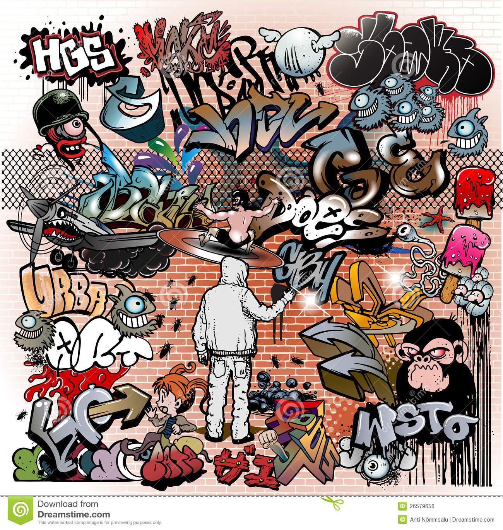 Elementi urbani di arte dei graffiti