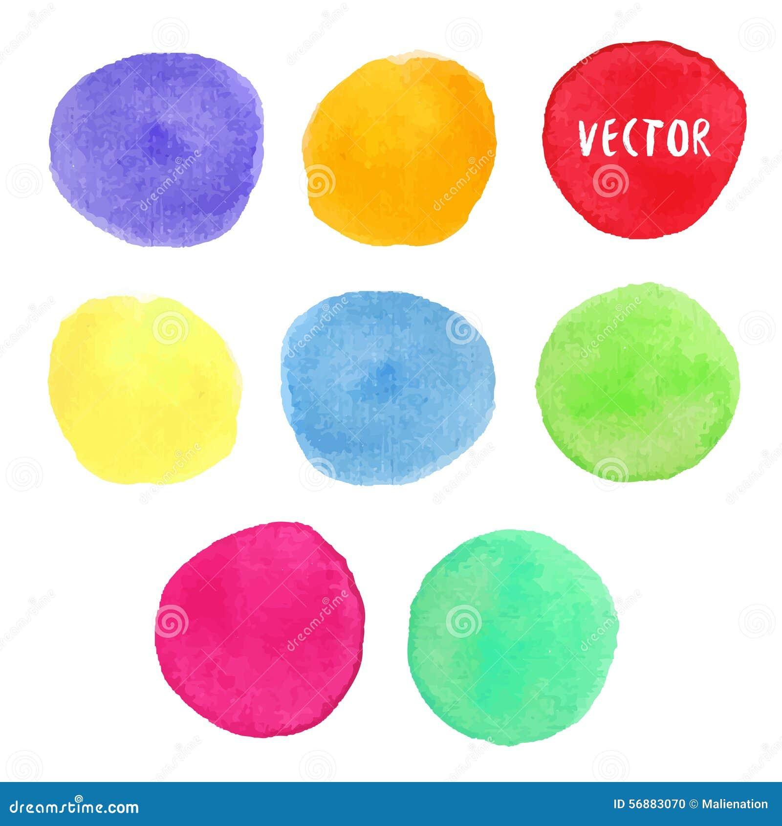 Elementi variopinti di progettazione dell acquerello Le macchie del cerchio dell acquerello di vettore hanno isolato la raccolta