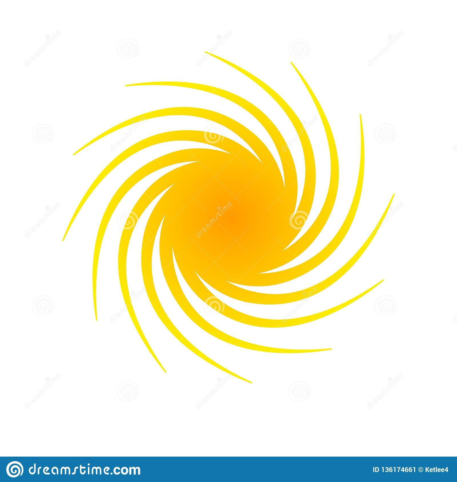 Elemento abstrato alaranjado da bandeira do círculo para o projeto sob a forma do sol com símbolo isolado decorativo de intervalo