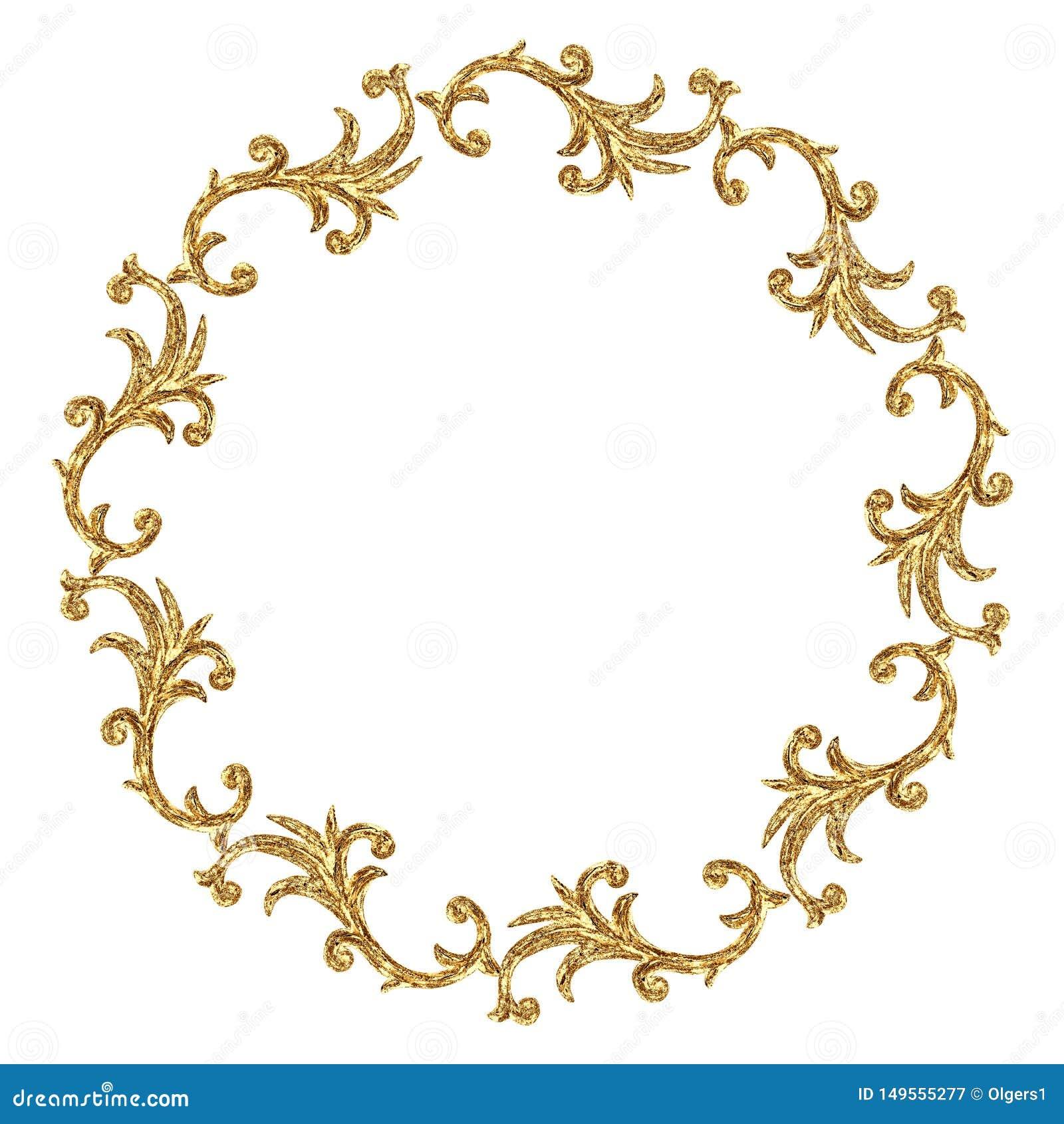 Elemento barrocco di stile dell ornamento del giro dell oro Struttura a filigrana d incisione d annata disegnata a mano del rotol