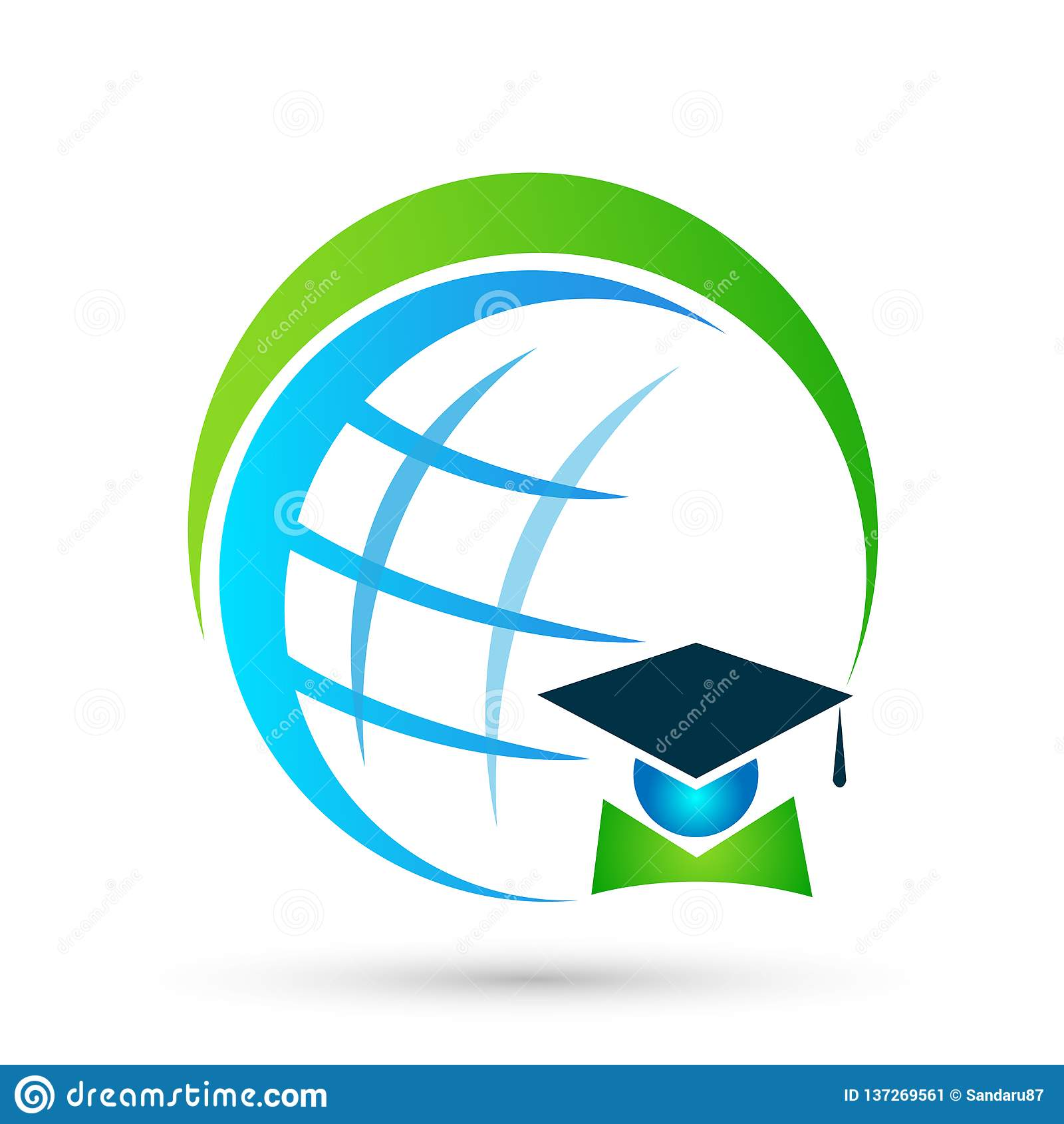 Elemento bem sucedido do ícone do licenciado dos estudantes da graduação do ícone do logotipo do mundo dos povos dos graduados da