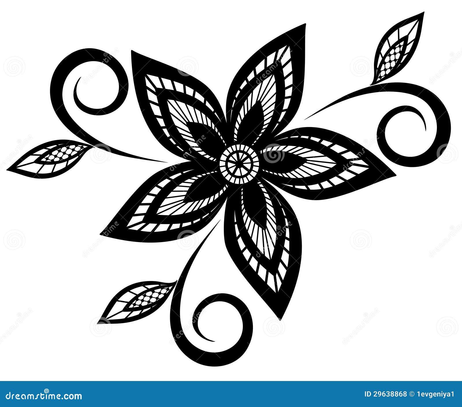 Elemento Blanco Y Negro Del Diseno Del Estampado De Flores