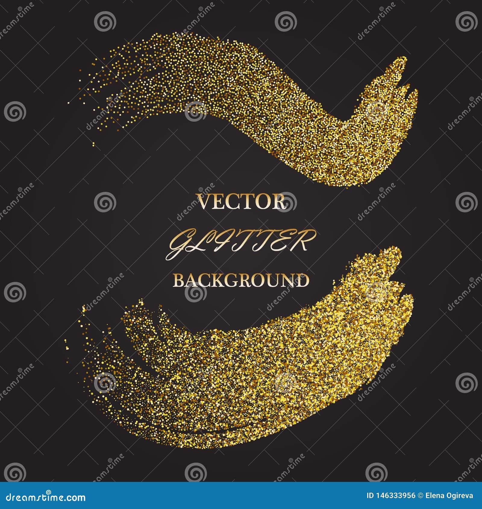 Elemento brillante abstracto del dise?o de la onda del oro del color del vector con efecto del brillo sobre fondo oscuro