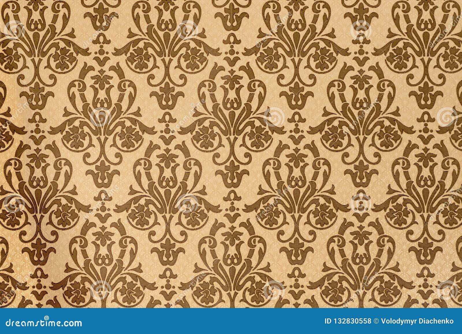 Elemento da decoração interior da casa teste padrão do Brown-café de papéis de parede barrocos do estilo