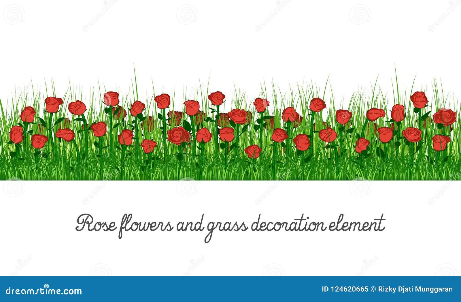 Elemento de la decoración de Rose Flowers y de la hierba