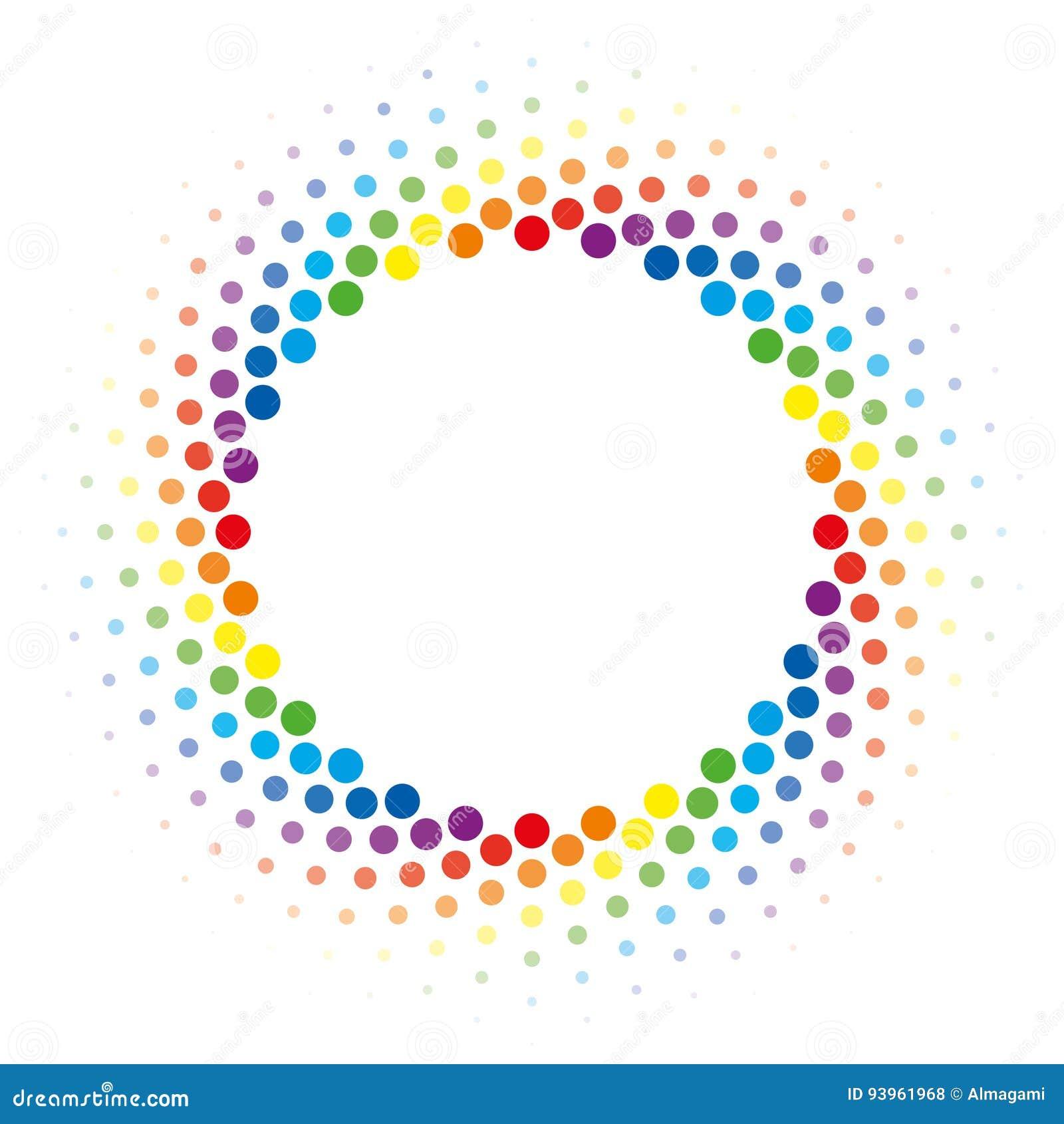 Elemento de semitono del diseño del vector del marco del círculo del remolino del arco iris