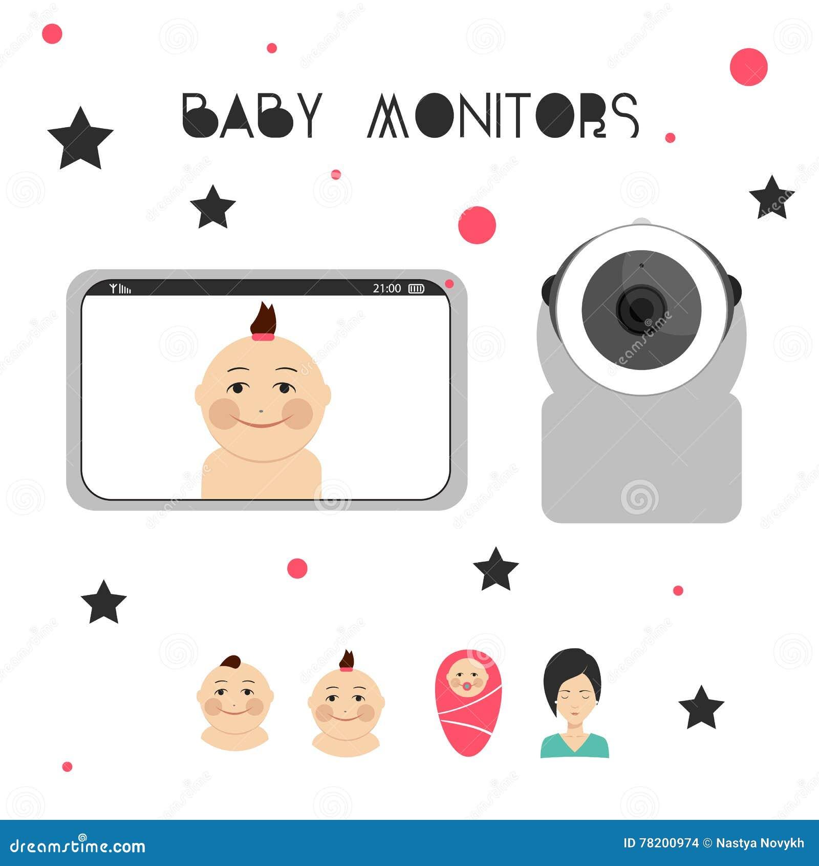 Elemento Del Diseño De Los Monitores Del Bebé Ilustración del Vector ... 281d08ea7416