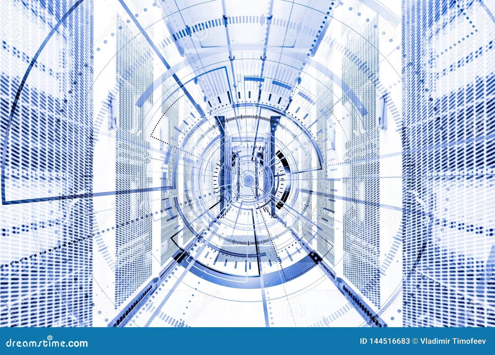 Elemento digital do círculo tecnologico abstrato do fundo Papel de parede interativo do Cyberspace futurista do hardware Projeto