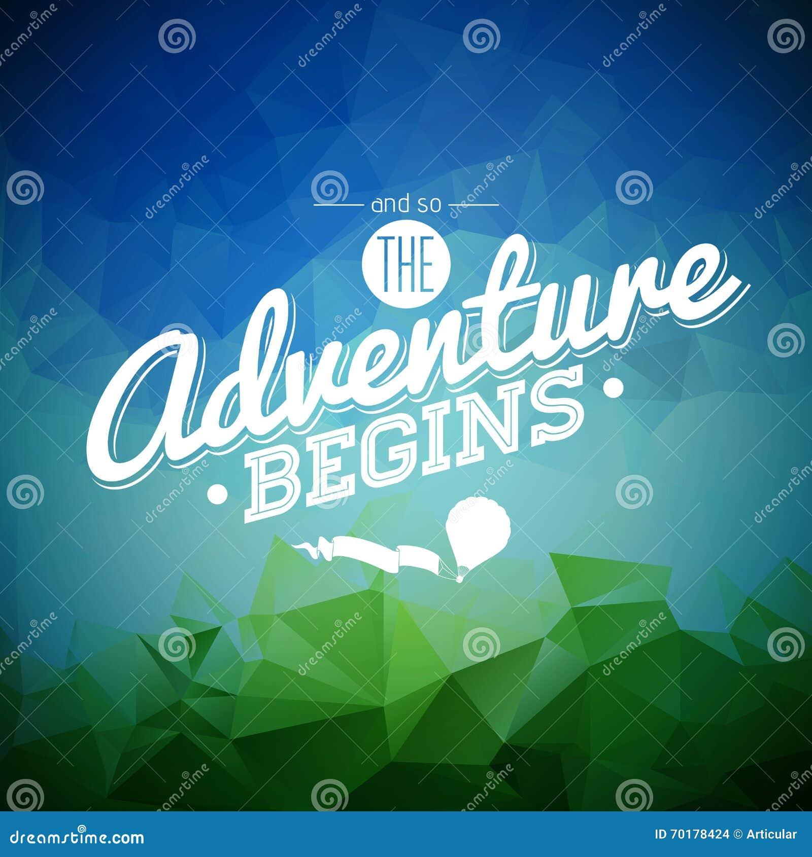 Elemento do projeto da tipografia do vetor para cartões e cartazes E assim a aventura começa citações da inspiração