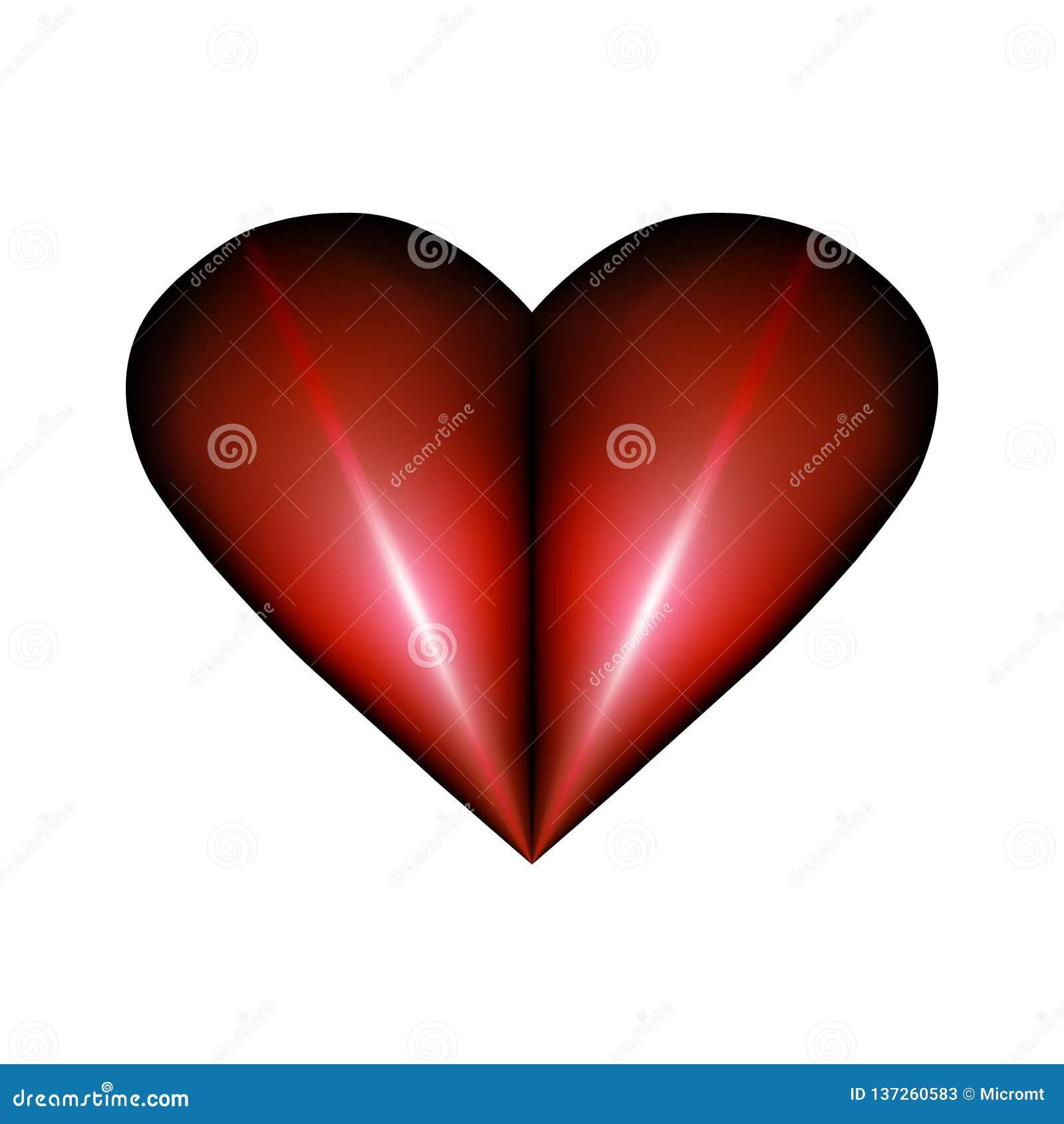 Elemento dobrado abstrato do projeto para o dia de Valentim Abstração vermelha plissada do ícone do coração que arde sem chama na