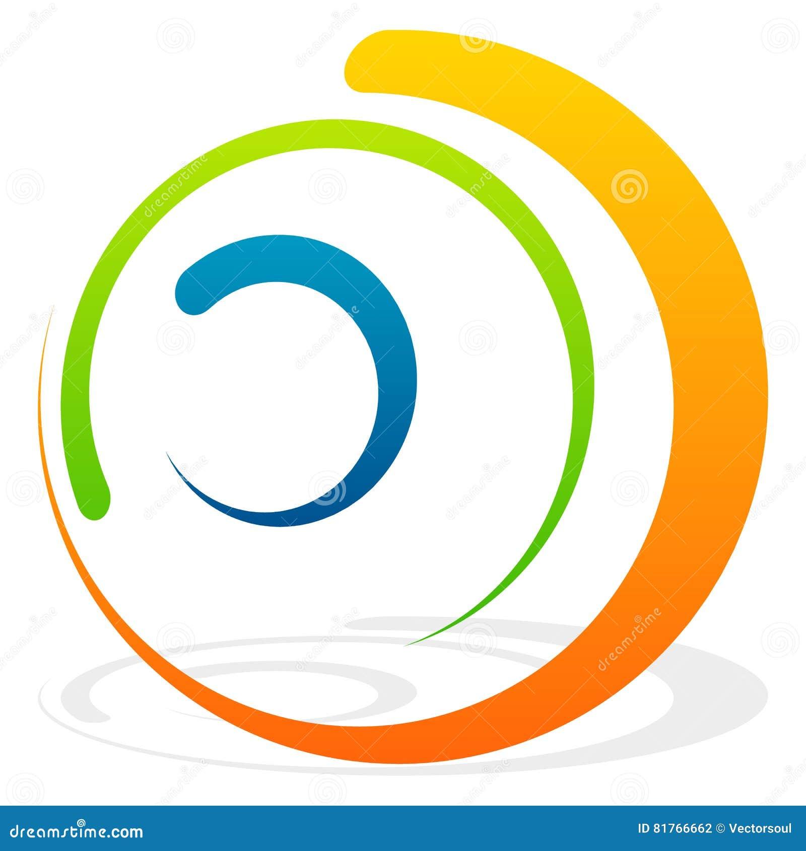 Elemento espiral com círculos concêntricos Elem decorativo abstrato