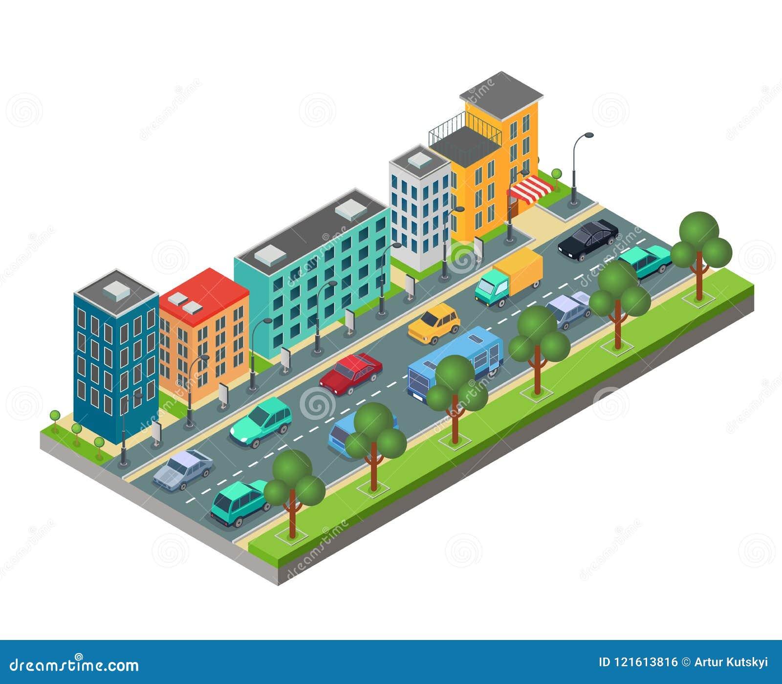Elemento isométrico da estrada de cidade com construções e carros no engarrafamento isolado no fundo branco