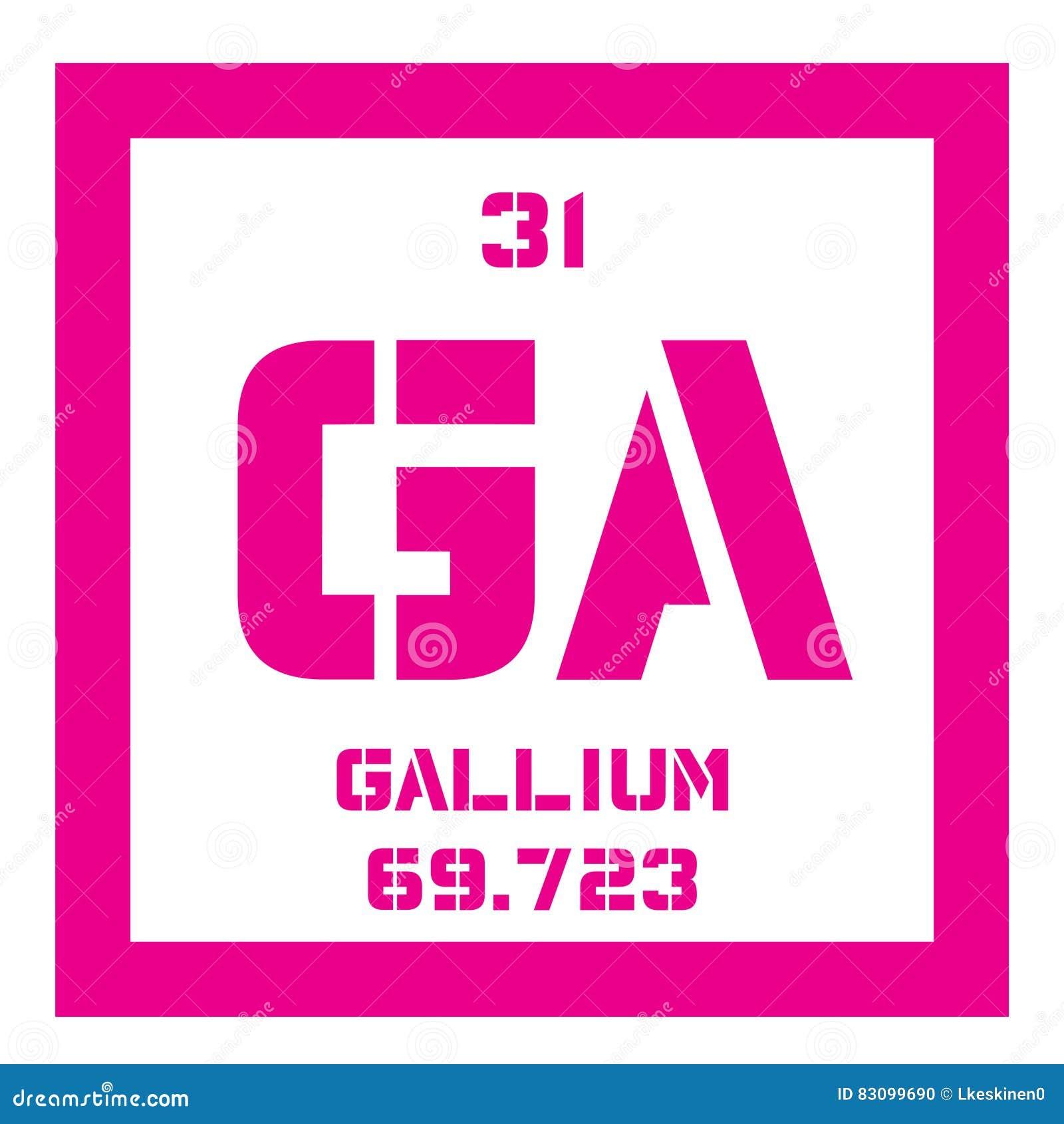 Elemento qumico del galio ilustracin del vector ilustracin de galio elemento qumico utilizado en electrnica icono coloreado con nmero atmico y el peso atmico elemento qumico de la tabla peridica urtaz Choice Image