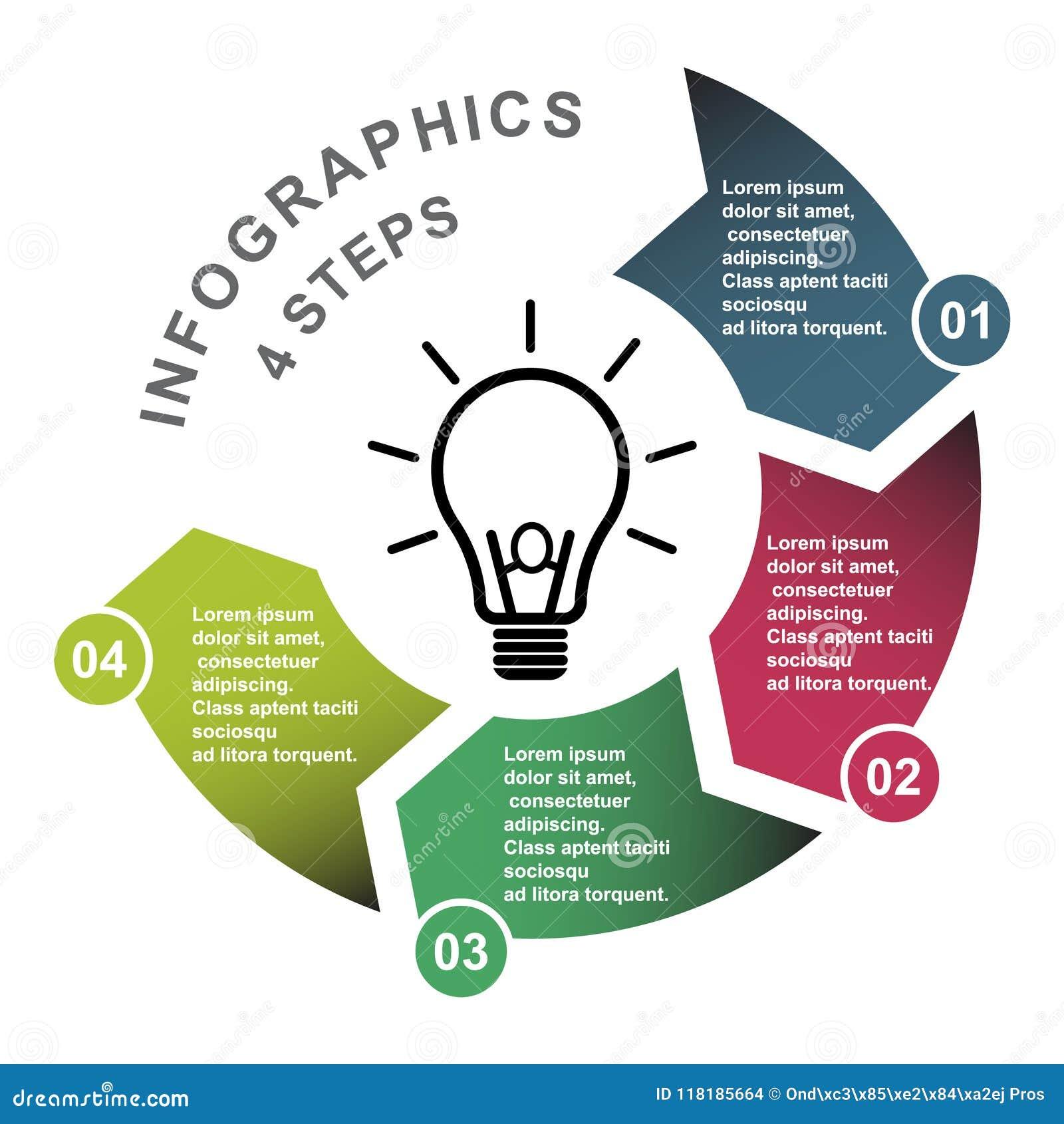 Elemento in quattro colori con le etichette, diagramma infographic di vettore di 4 punti Un concetto di affari di 4 punti o opzio