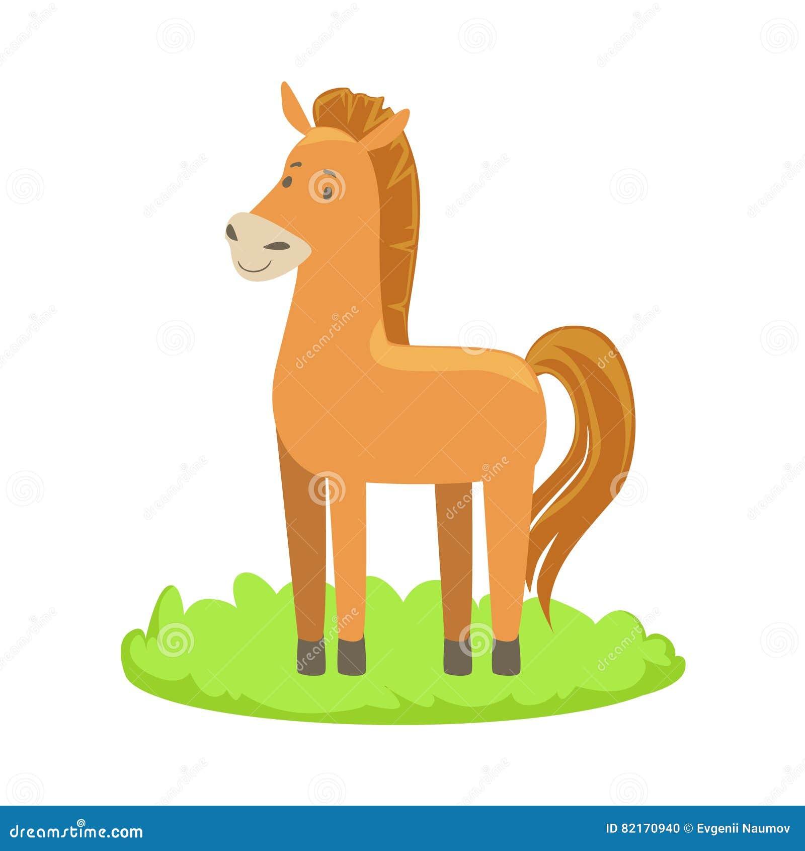 Elemento relacionado de la historieta del animal del campo del caballo en remiendo de la hierba verde