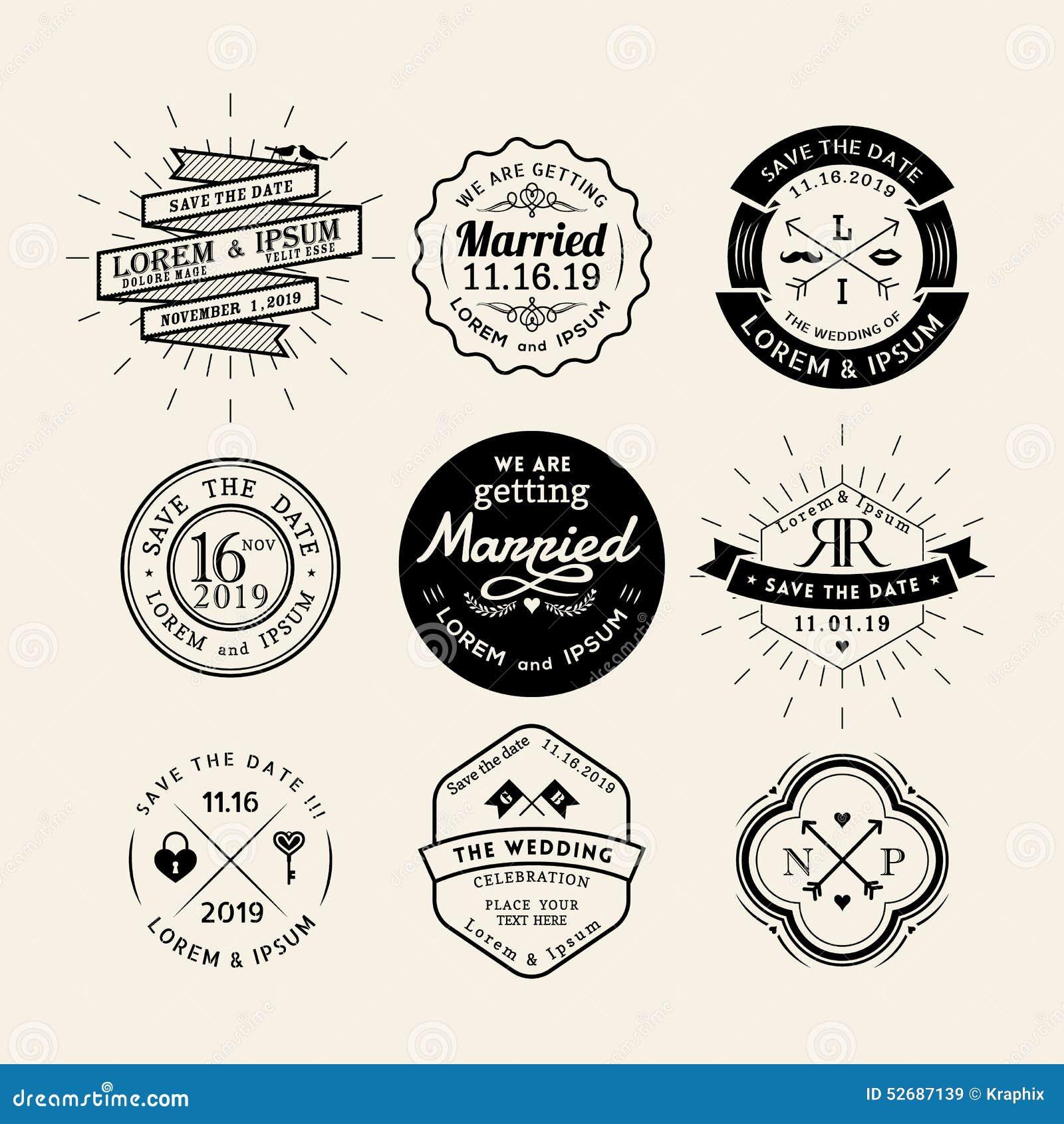 Elemento retro del diseño de la insignia del marco del logotipo de la boda del vintage