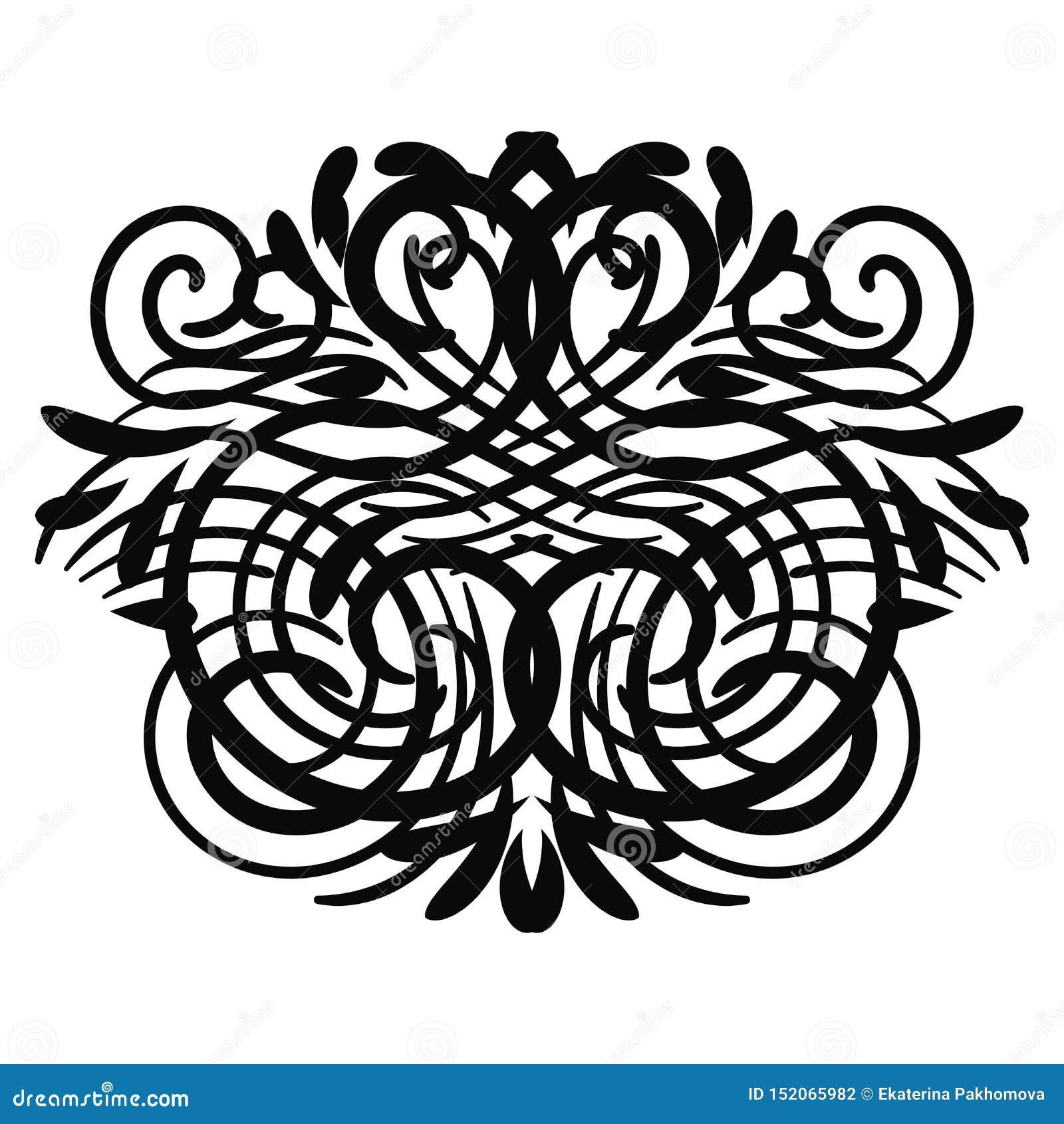 Elemento rizado abstracto negro para el diseño, monograma, remolino, rizo
