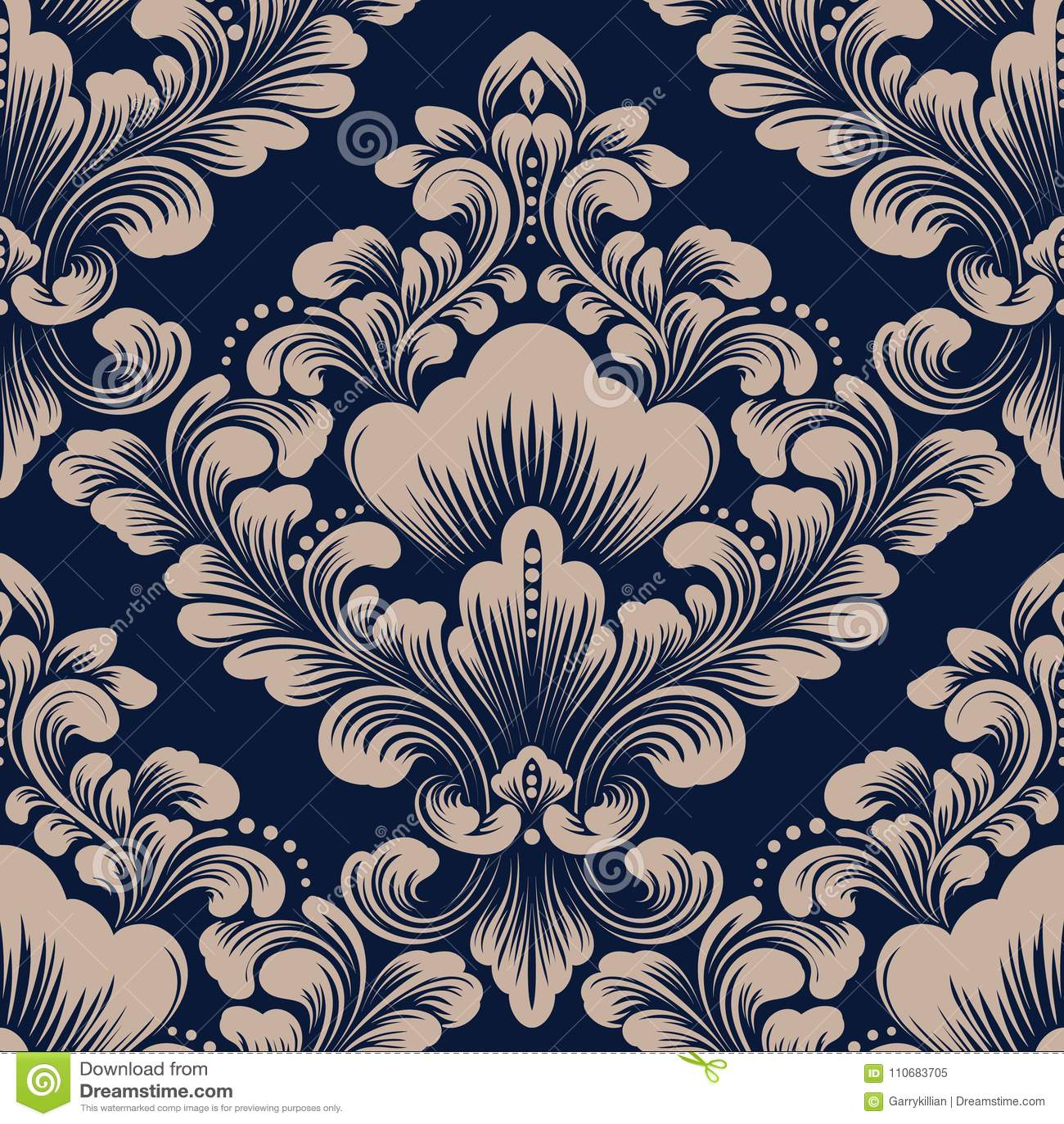 Elemento senza cuciture del modello del damasco di vettore Ornamento antiquato di lusso classico del damasco, struttura senza cuc