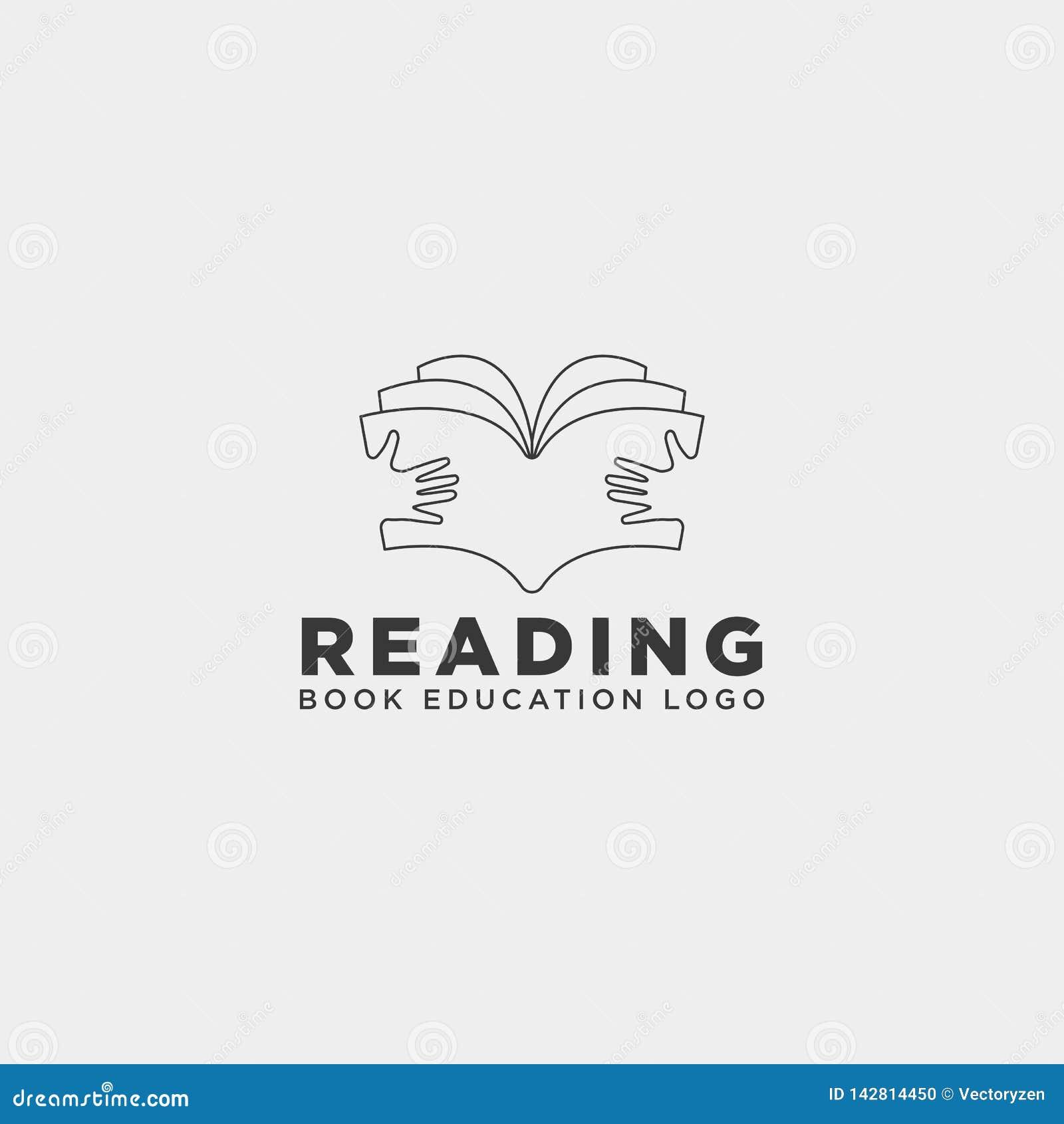 Elemento simples do ícone da ilustração do vetor do molde do logotipo da educação do compartimento do livro de leitura