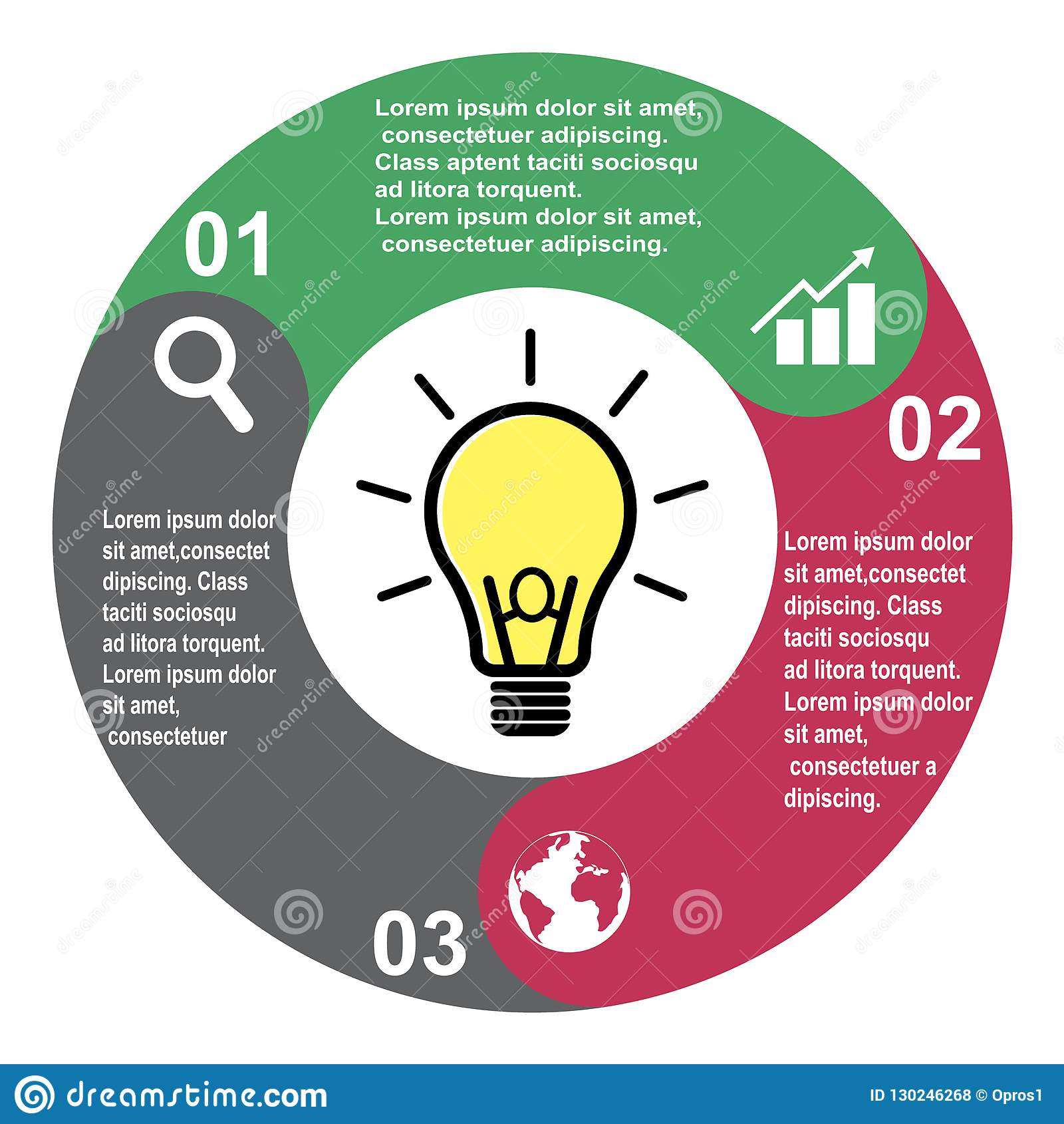 Elemento in tre colori con le etichette, diagramma infographic di vettore di 3 punti Un concetto di affari di 3 punti o opzioni c