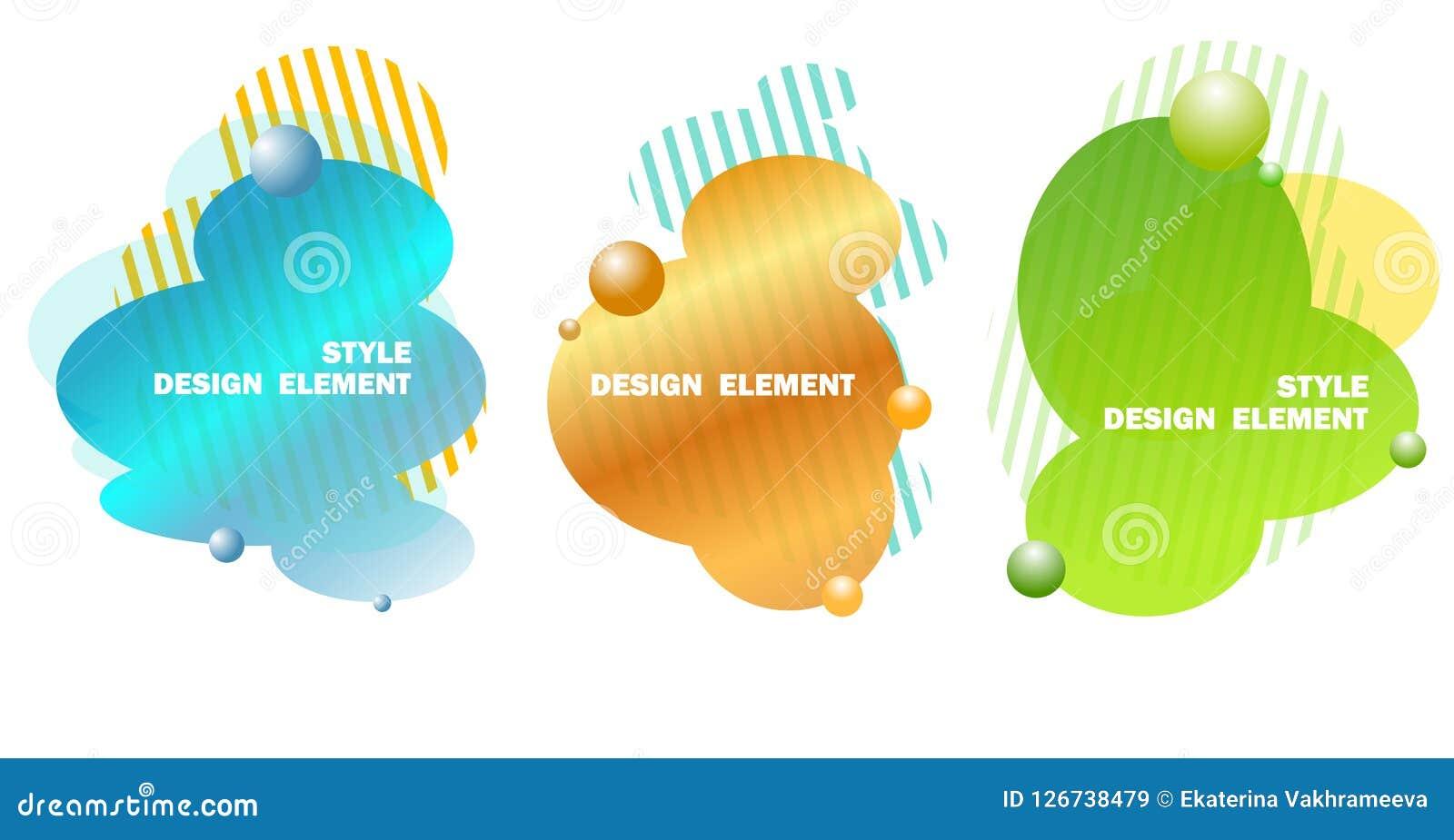 Elementos abstratos do projeto para gráficos e locais da Web, listras, inclinações e gotas abstratas Grupo de elementos gráficos
