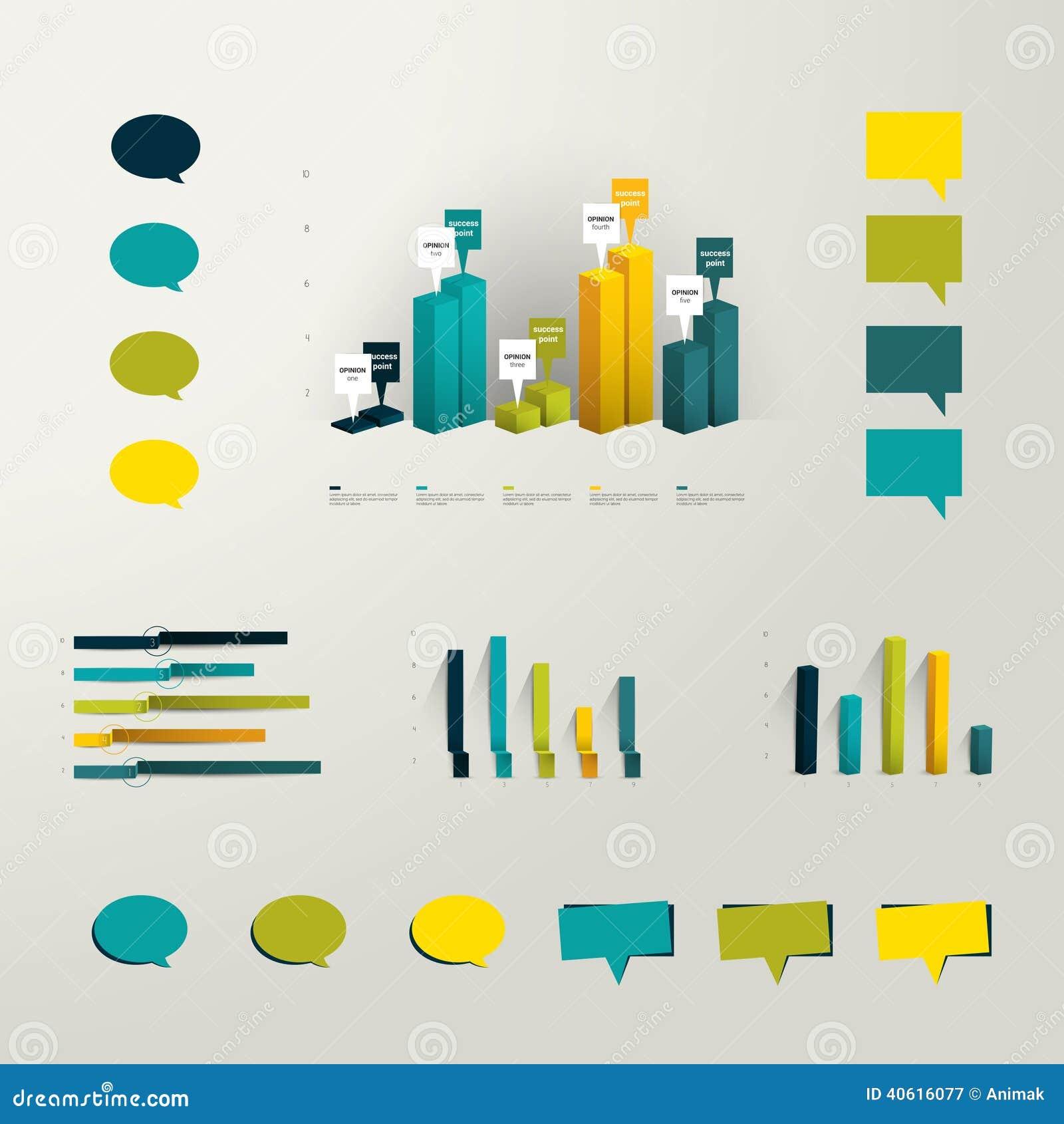 Elementos ajustados do gráfico da informação A coleção dos gráficos 3D plásticos e do discurso minimalistic borbulha para a cópia