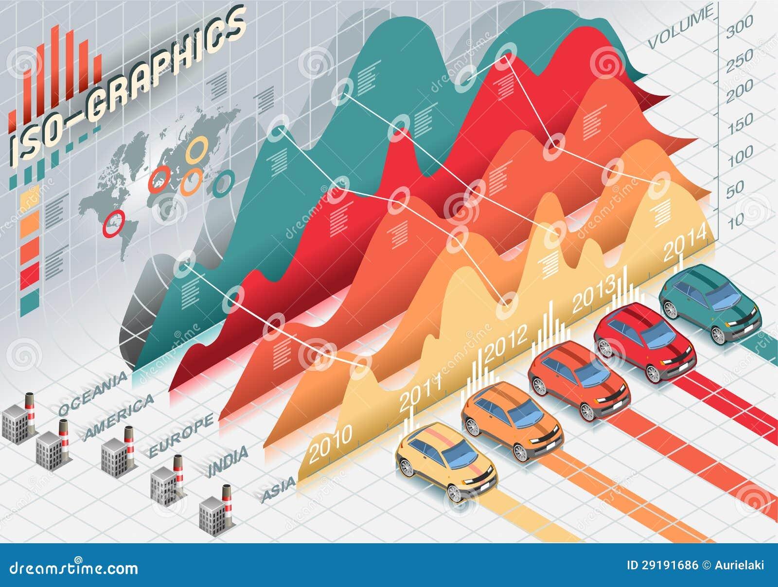 Elementos ajustados isométricos de Infographic com transparência