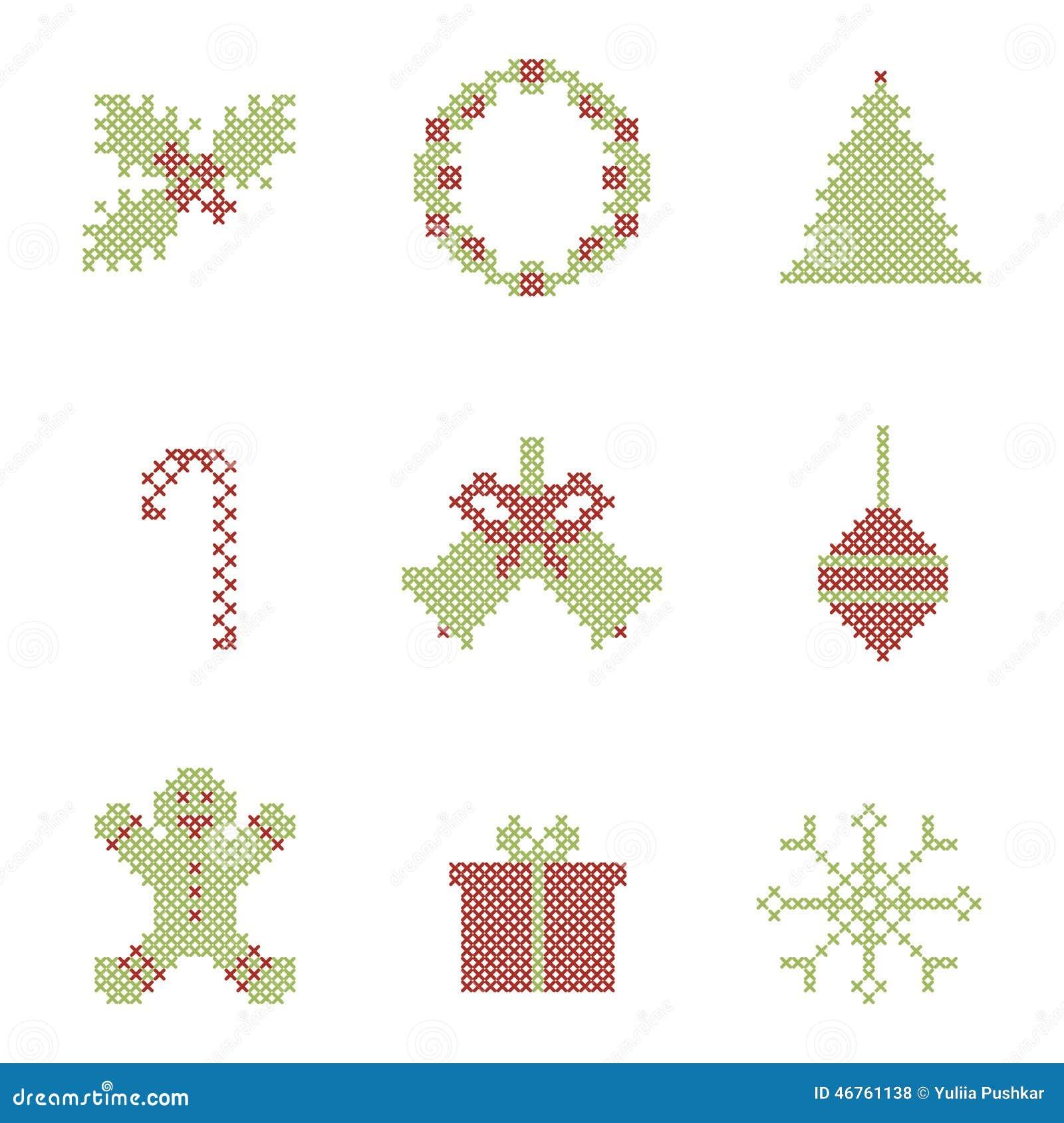 Elementos Bordados La Navidad Ilustración del Vector - Ilustración ...