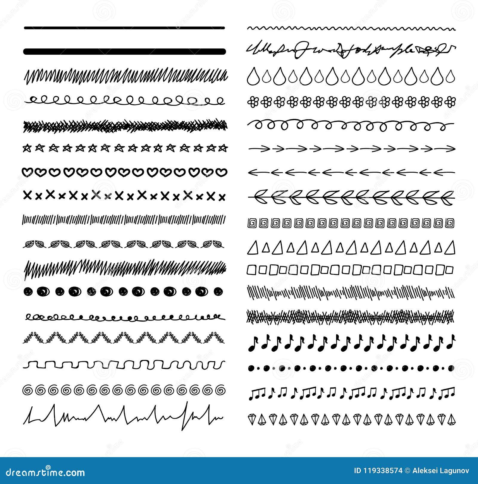 Elementos bosquejados garabato del diseño del vector, líneas dibujadas mano del divisor