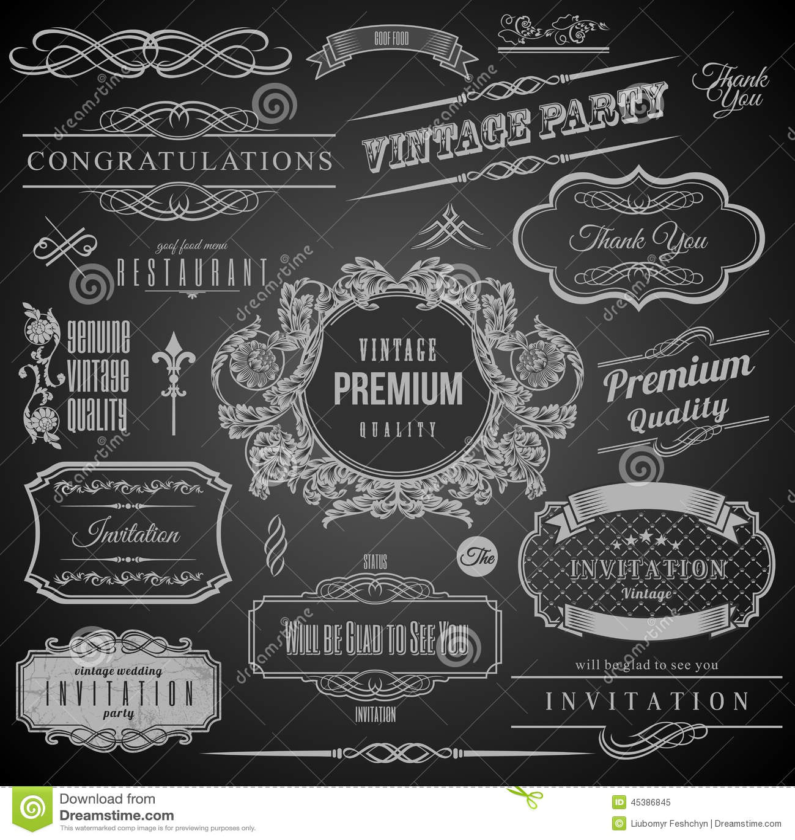 Elementos caligráficos retros del diseño Marco de la invitación Colección de bastidores y de elementos decorativos del vector