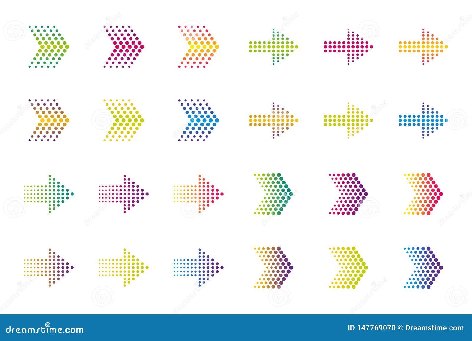 Elementos coloreados de la flecha Efecto de semitono