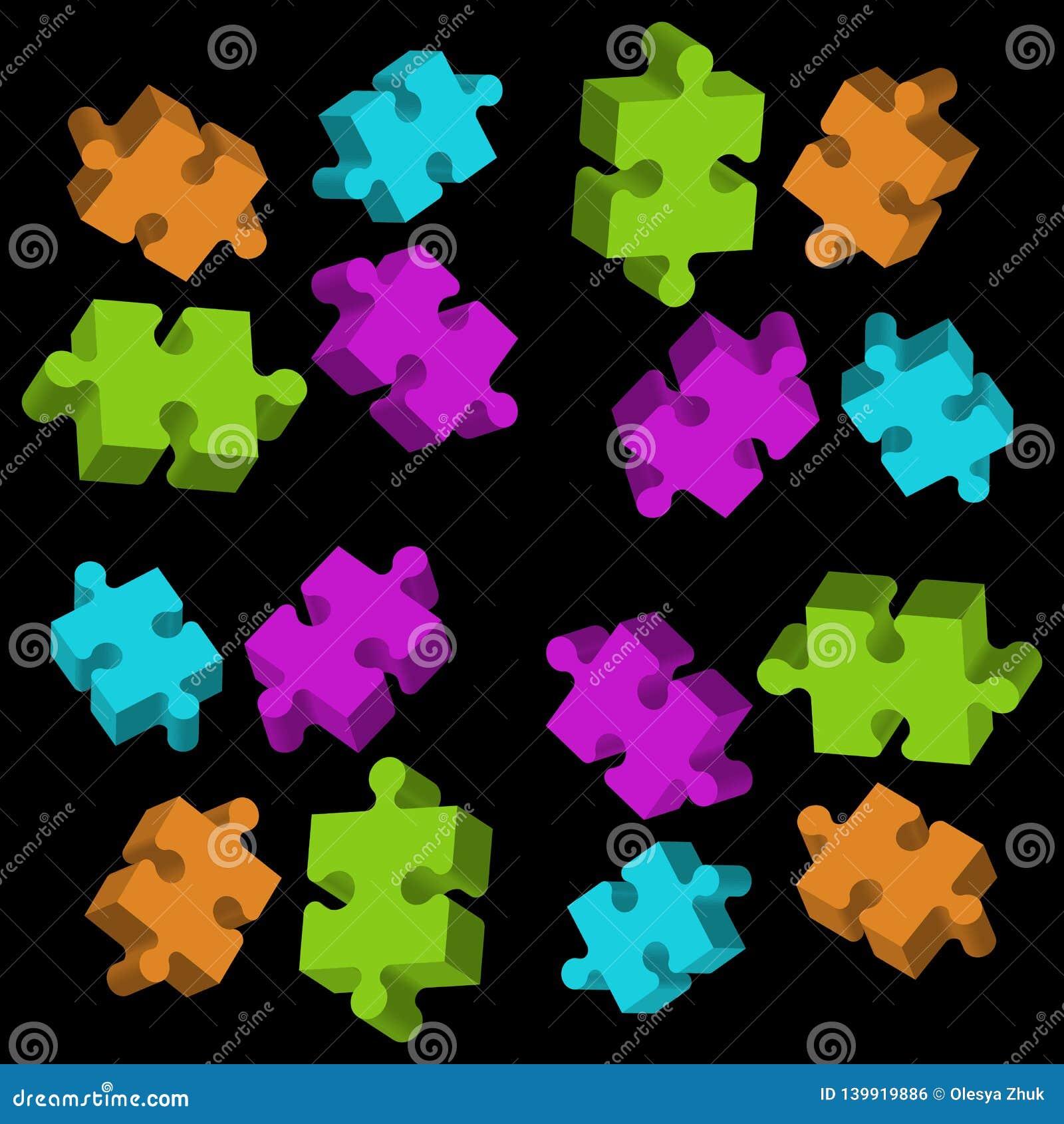 Elementos coloridos do enigma 3D no fundo preto