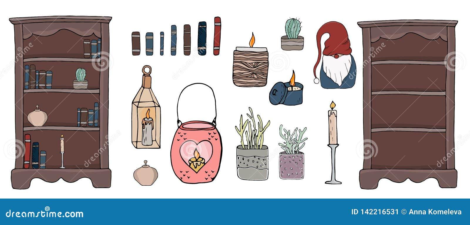 Elementos confortáveis do hygge da ilustração do vetor