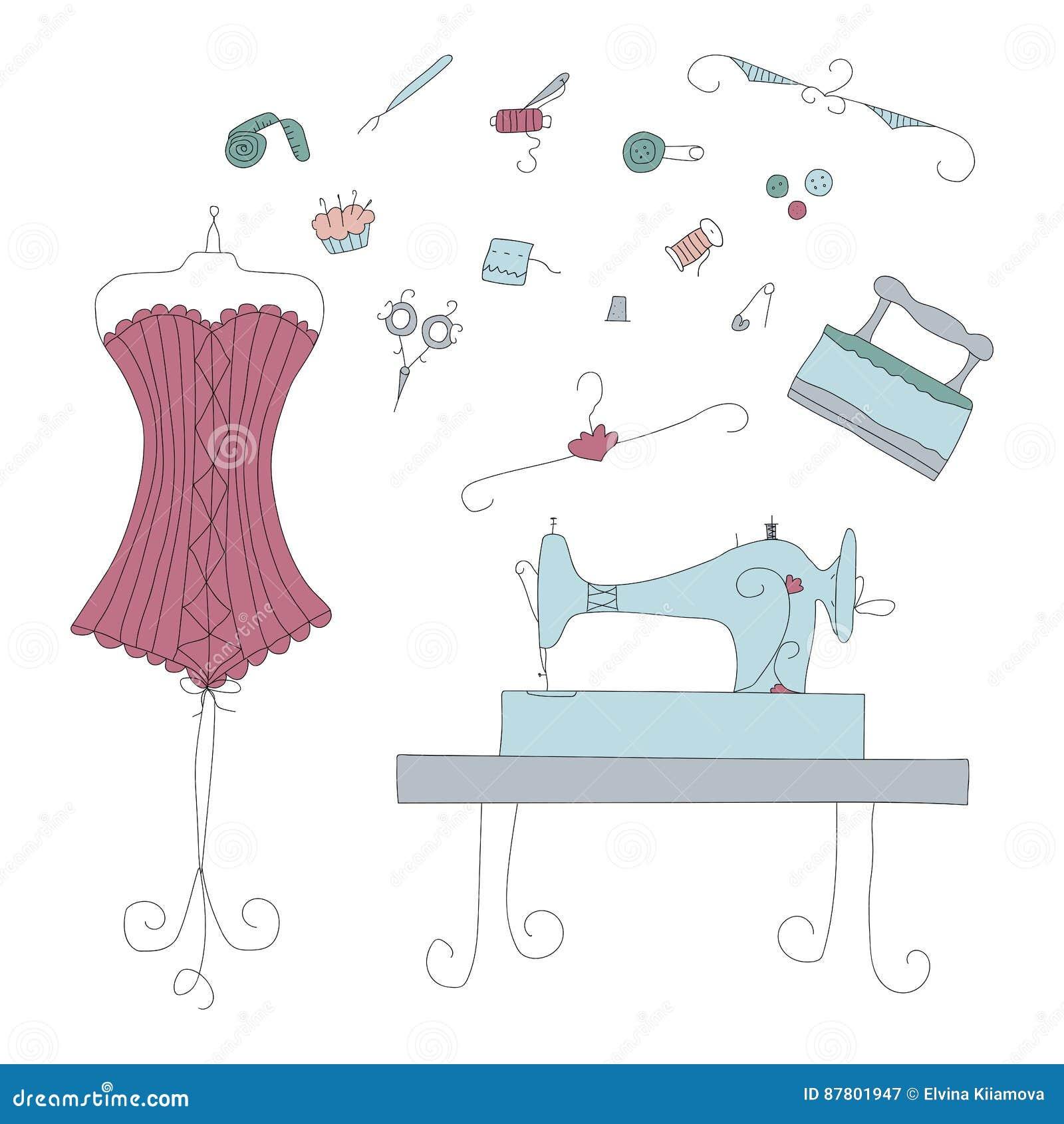 Elementos da costura do vetor do vintage