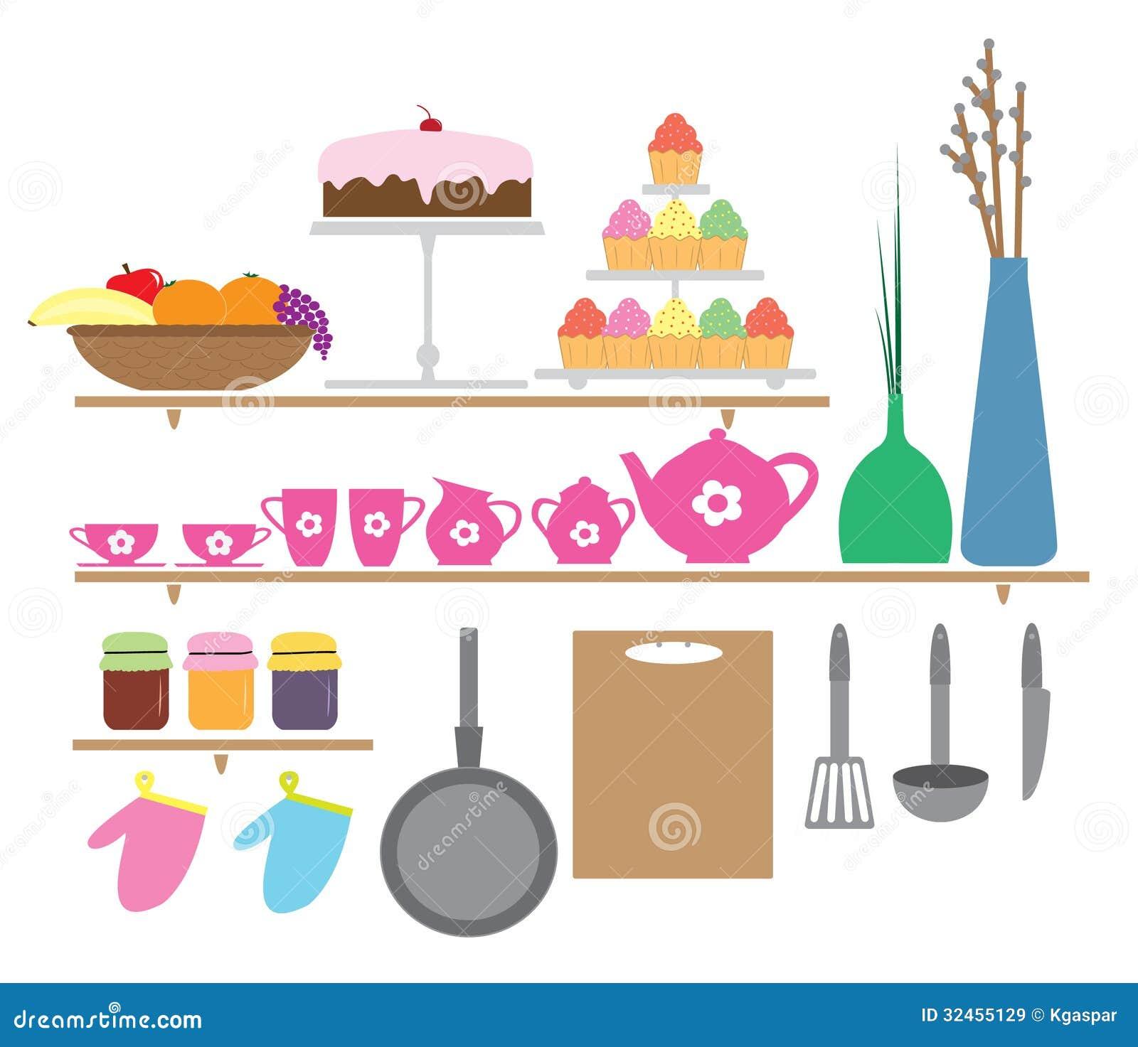 Elementos Da Cozinha Estilo Dos Desenhos Animados Imagens de Stock  #B31862 1300 1213