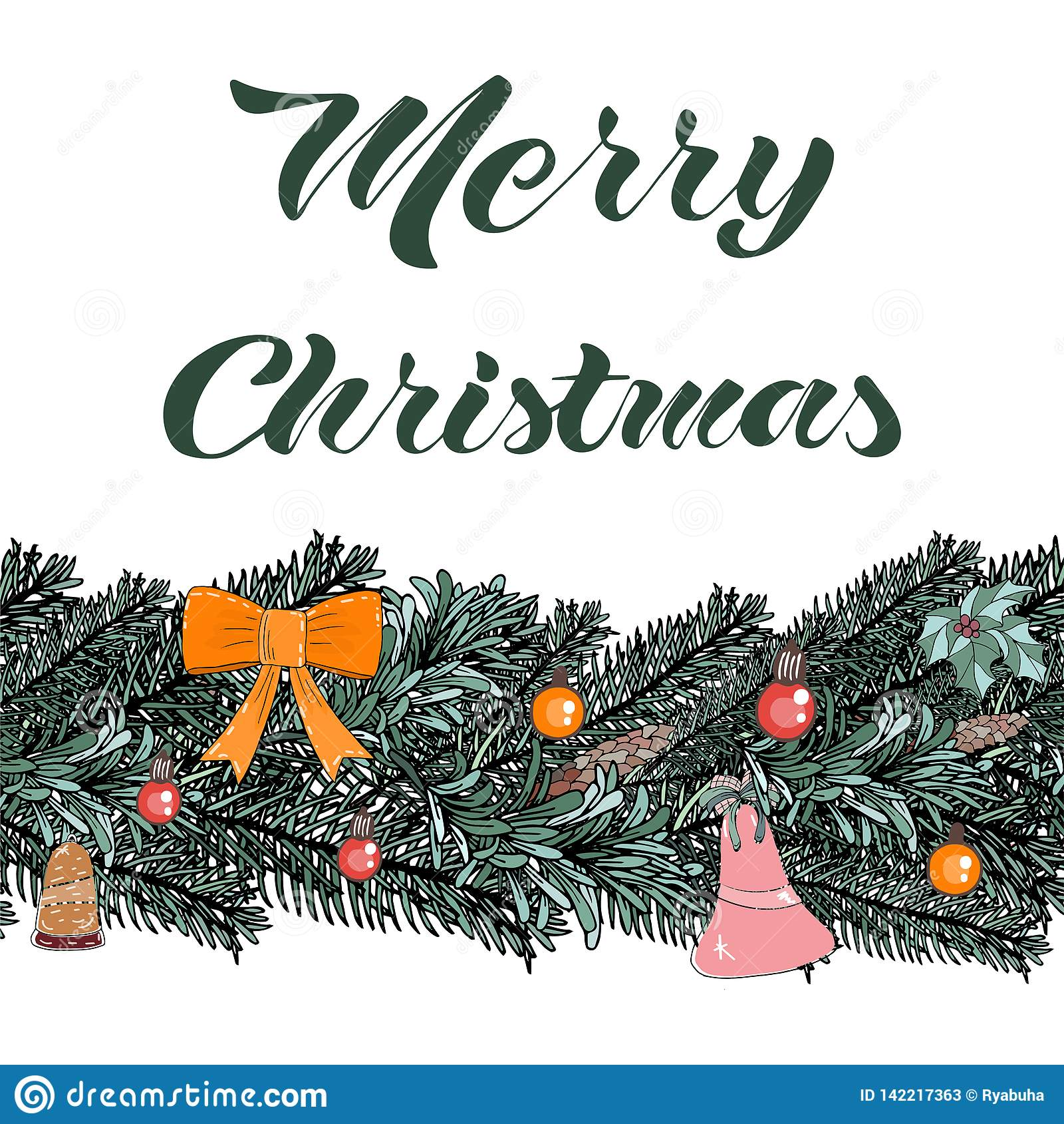 Elementos da ilustração do Natal do vetor do molde