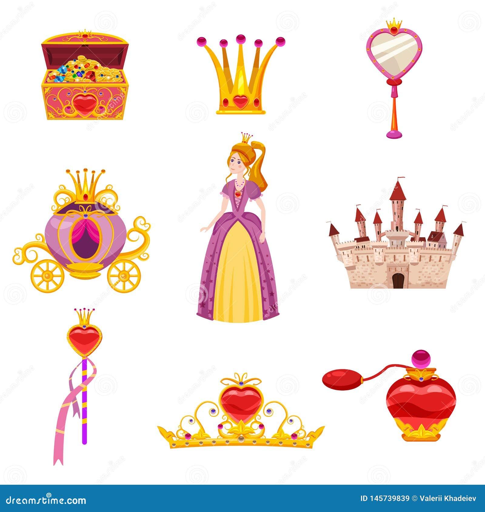 Elementos da princesa World e atributos ajustados do projeto Castelo, espelho, transporte, uma varinha mágica, arca do tesouro, p