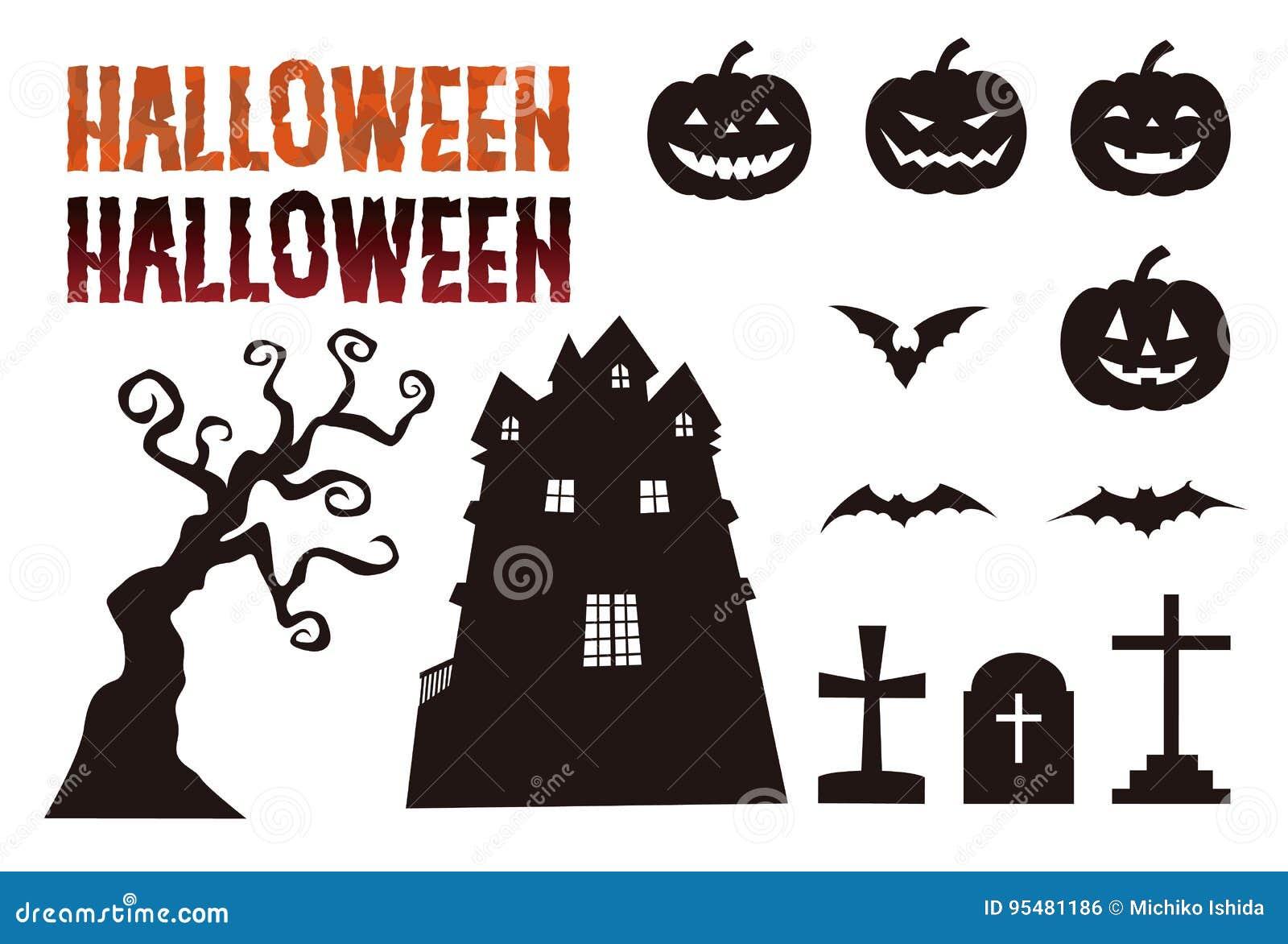 Elementos de Dia das Bruxas, lanterna do jaque o, bastão, sepultura e mansão assombrada