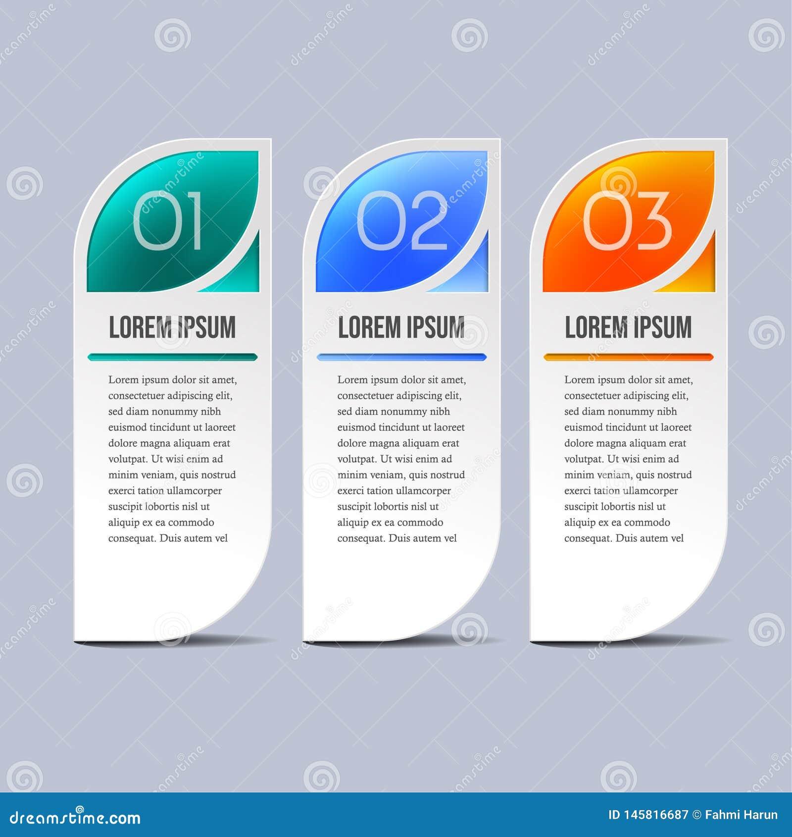 Elementos de Infographic del negocio en tres colores